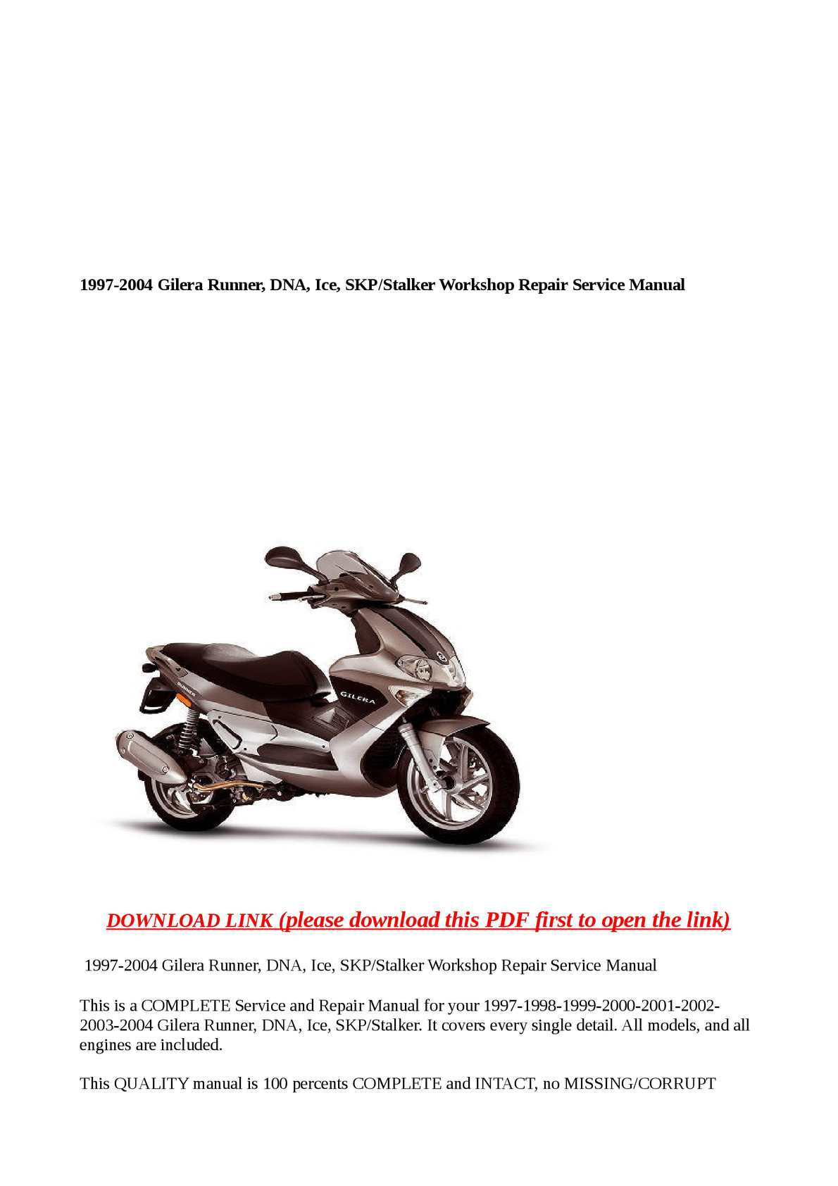 gilera runner instruction manual