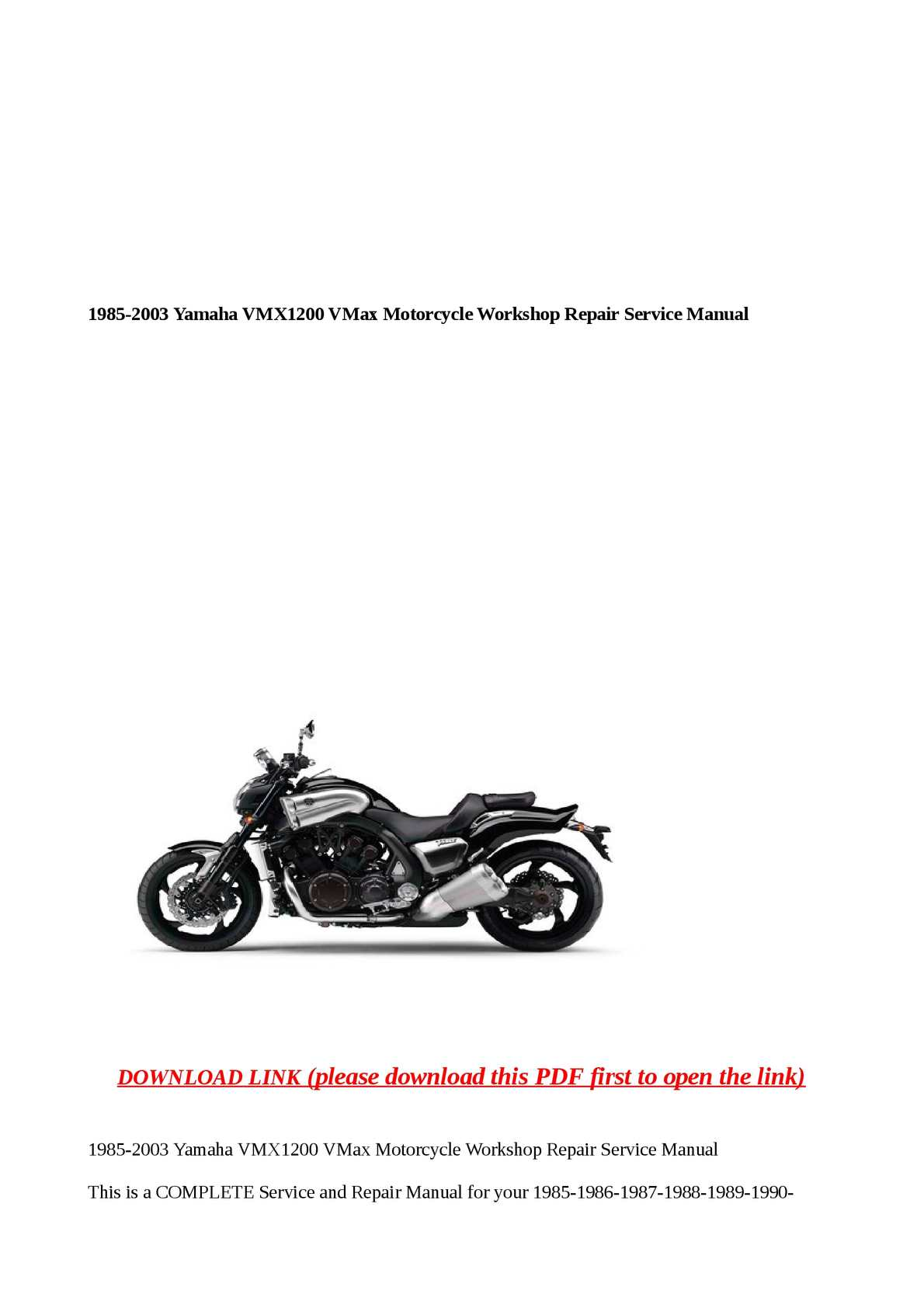 Calaméo - 1985-2003 Yamaha VMX1200 VMax Motorcycle Workshop Rep on