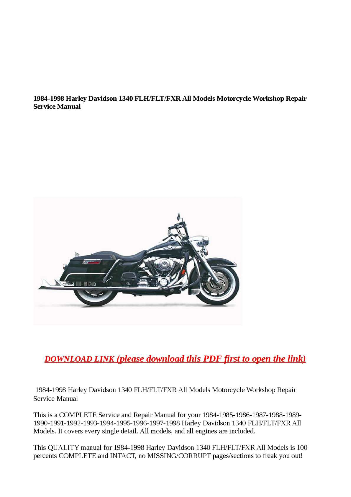 1984-1998 harley davidson 1340 flh/flt/fxr all models motorcycle