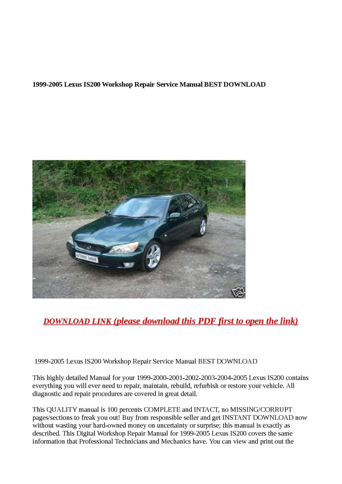 Calaméo - 1999-2005 Lexus IS200 Workshop Repair Service Manual BEST DOWNLOAD