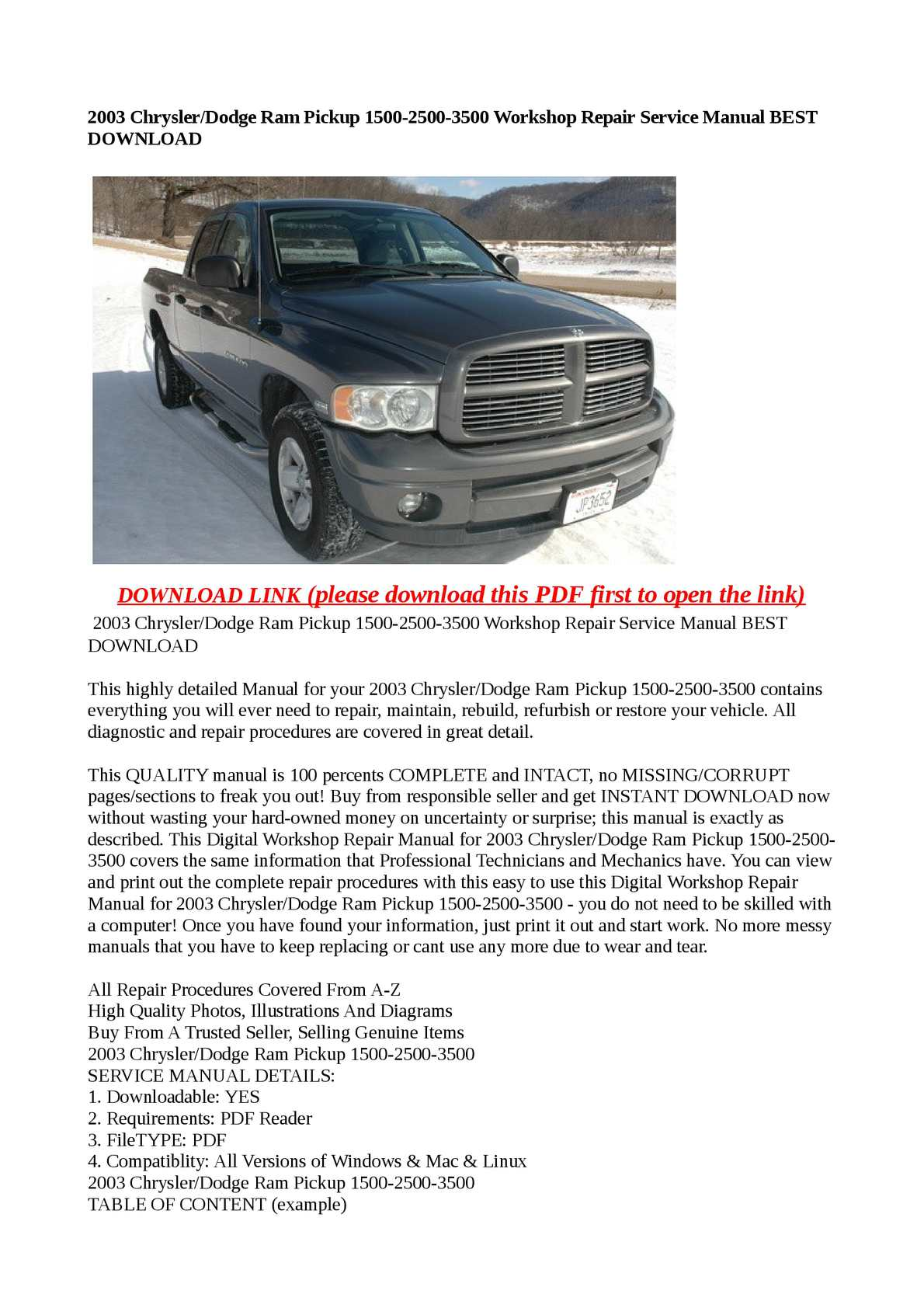 Calaméo - 2003 Chrysler/Dodge Ram Pickup 1500-2500-3500 Workshop Repair  Service Manual BEST DOWNLOAD