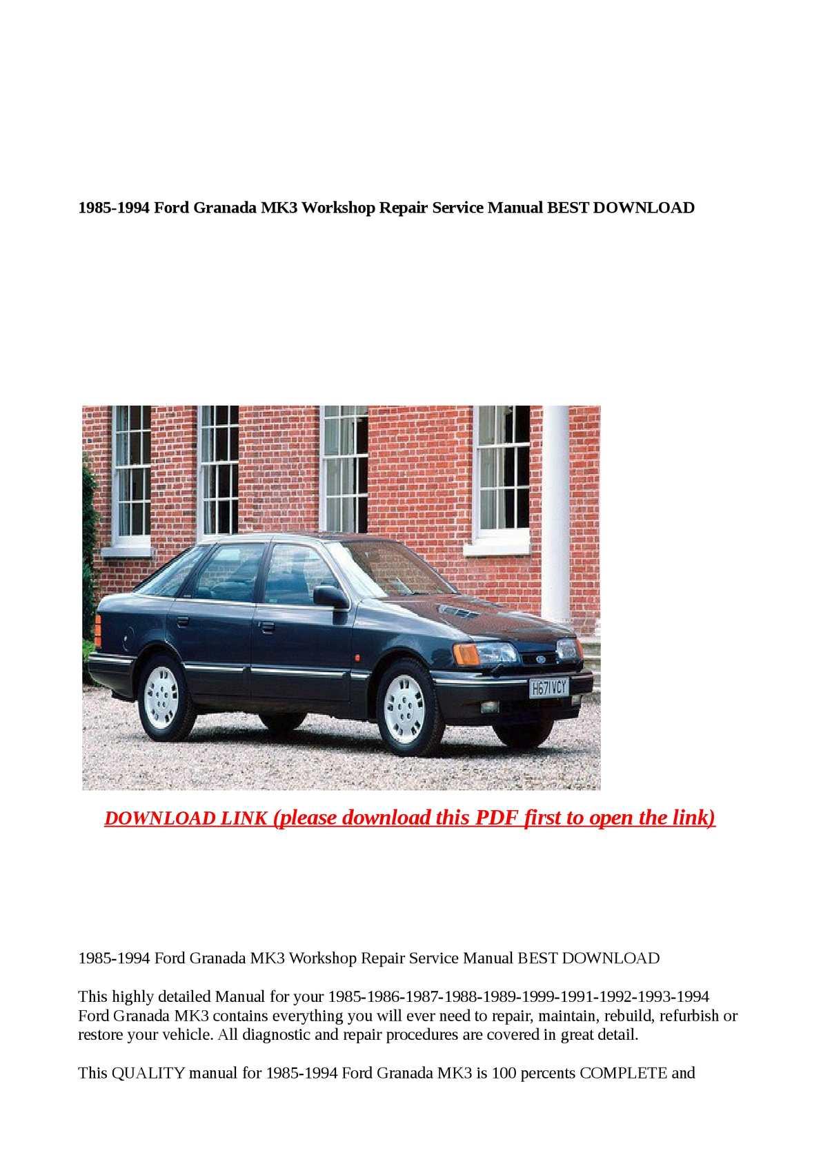 Calameo 1985 1994 Ford Granada Mk3 Workshop Repair Service M