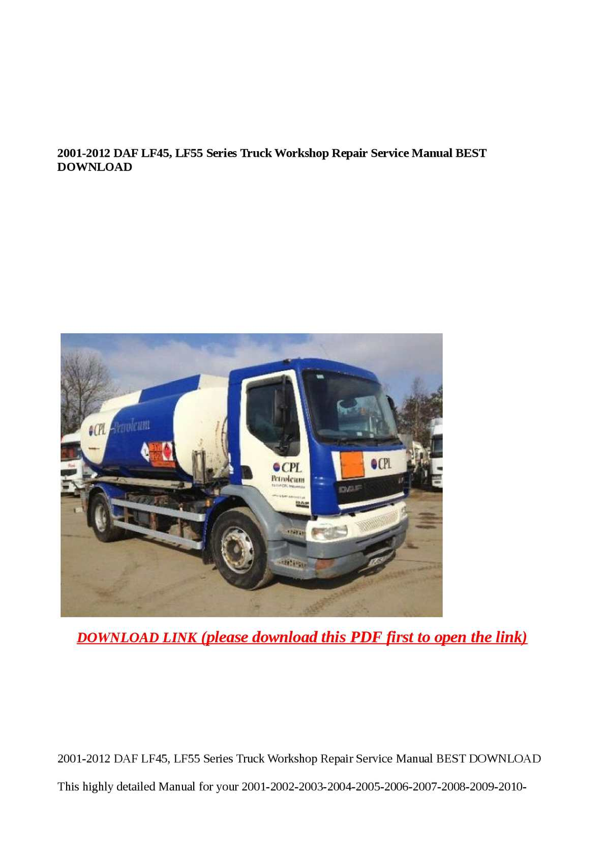 Calaméo - 2001-2012 DAF LF45, LF55 Series Truck Workshop Repair Service Ma