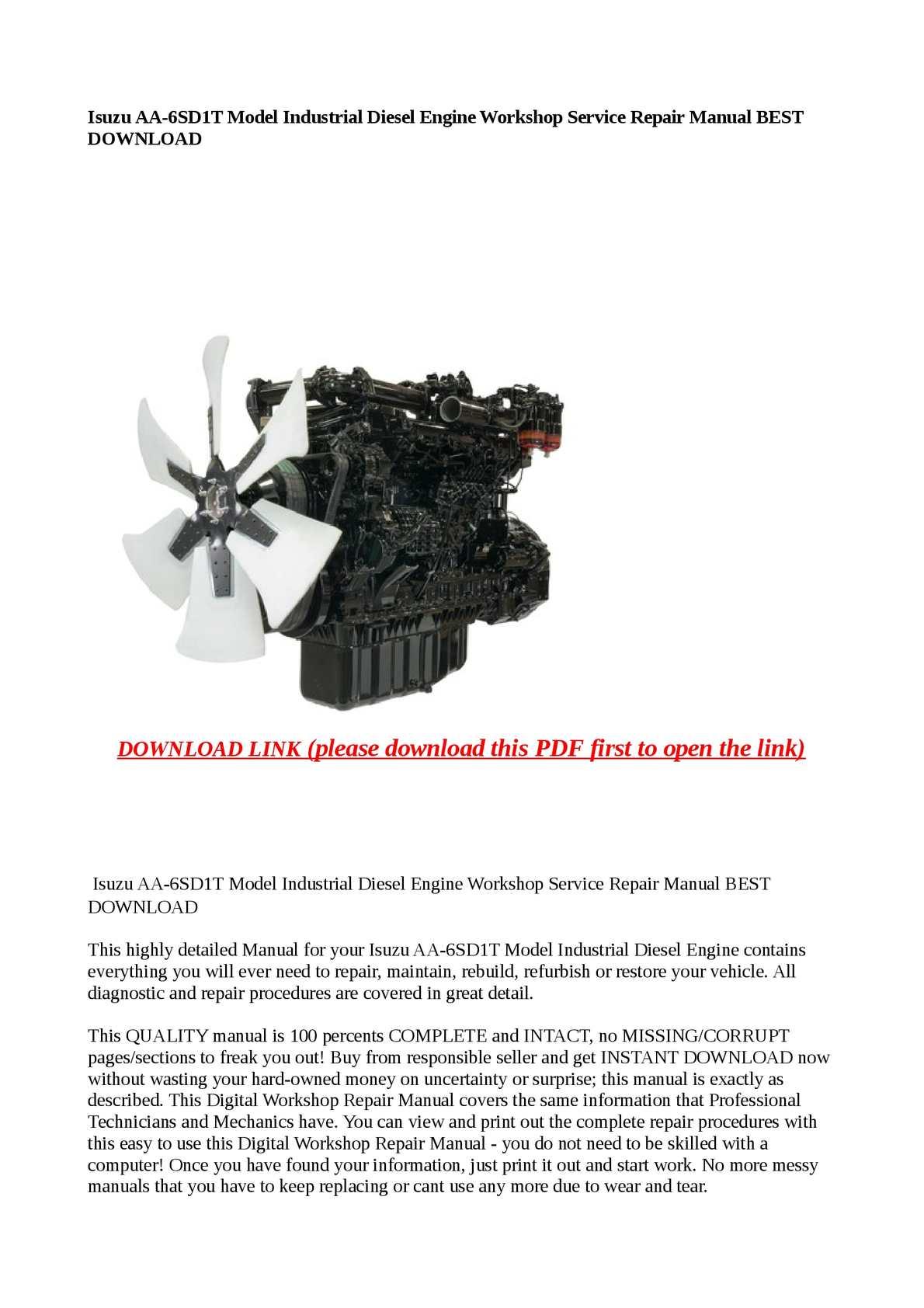 Calaméo - Isuzu AA-6SD1T Model Industrial Diesel Engine Workshop