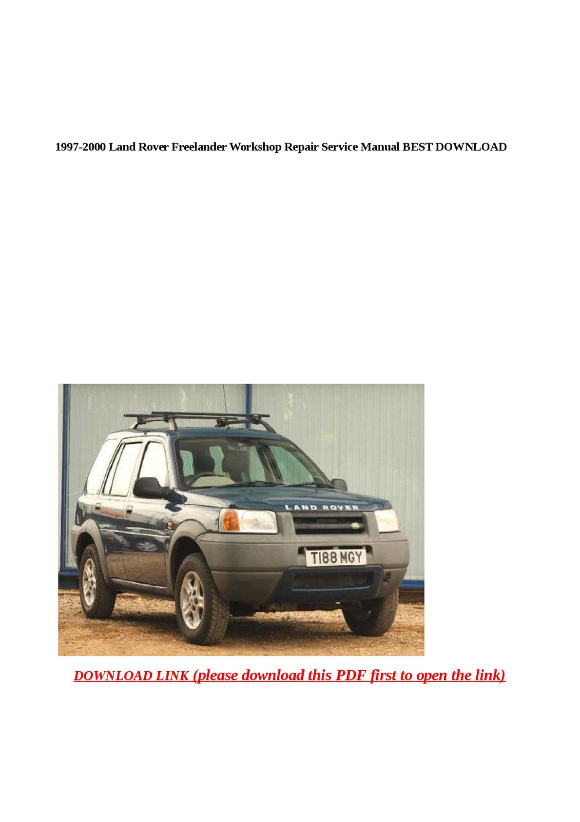 Calaméo - 1997-2000 Land Rover Freelander Workshop Repair Service Manual  BEST DOWNLOAD