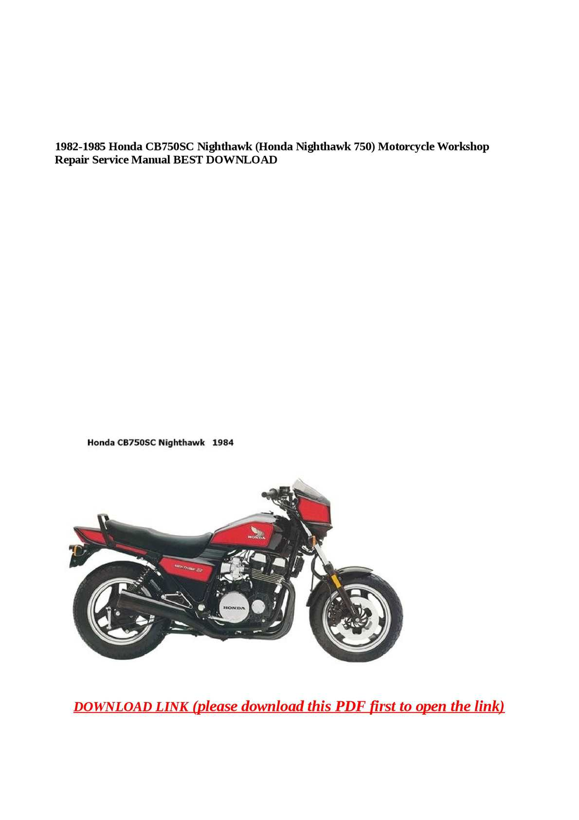 P on 1982 Honda Nighthawk 750 Service Manual