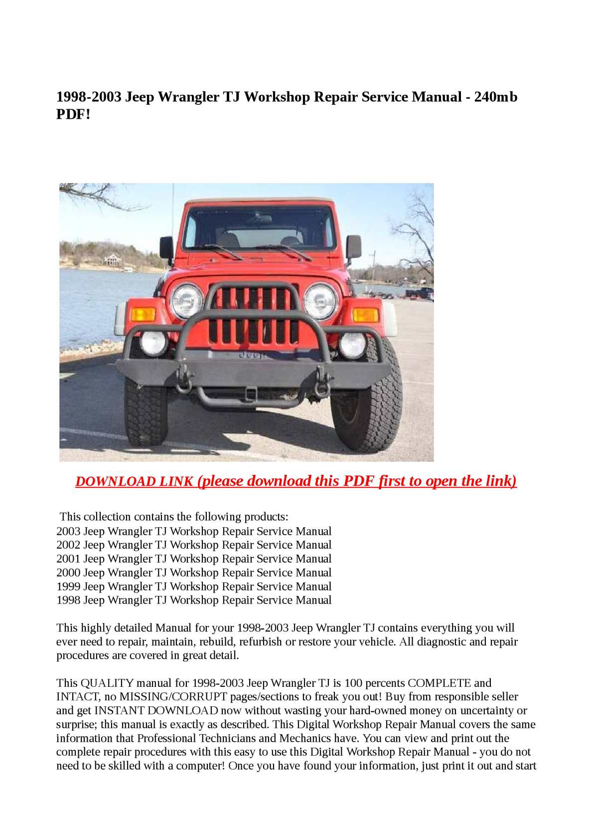 Calaméo - 1998-2003 Jeep Wrangler TJ Workshop Repair Service Manual - 240mb  PDF!
