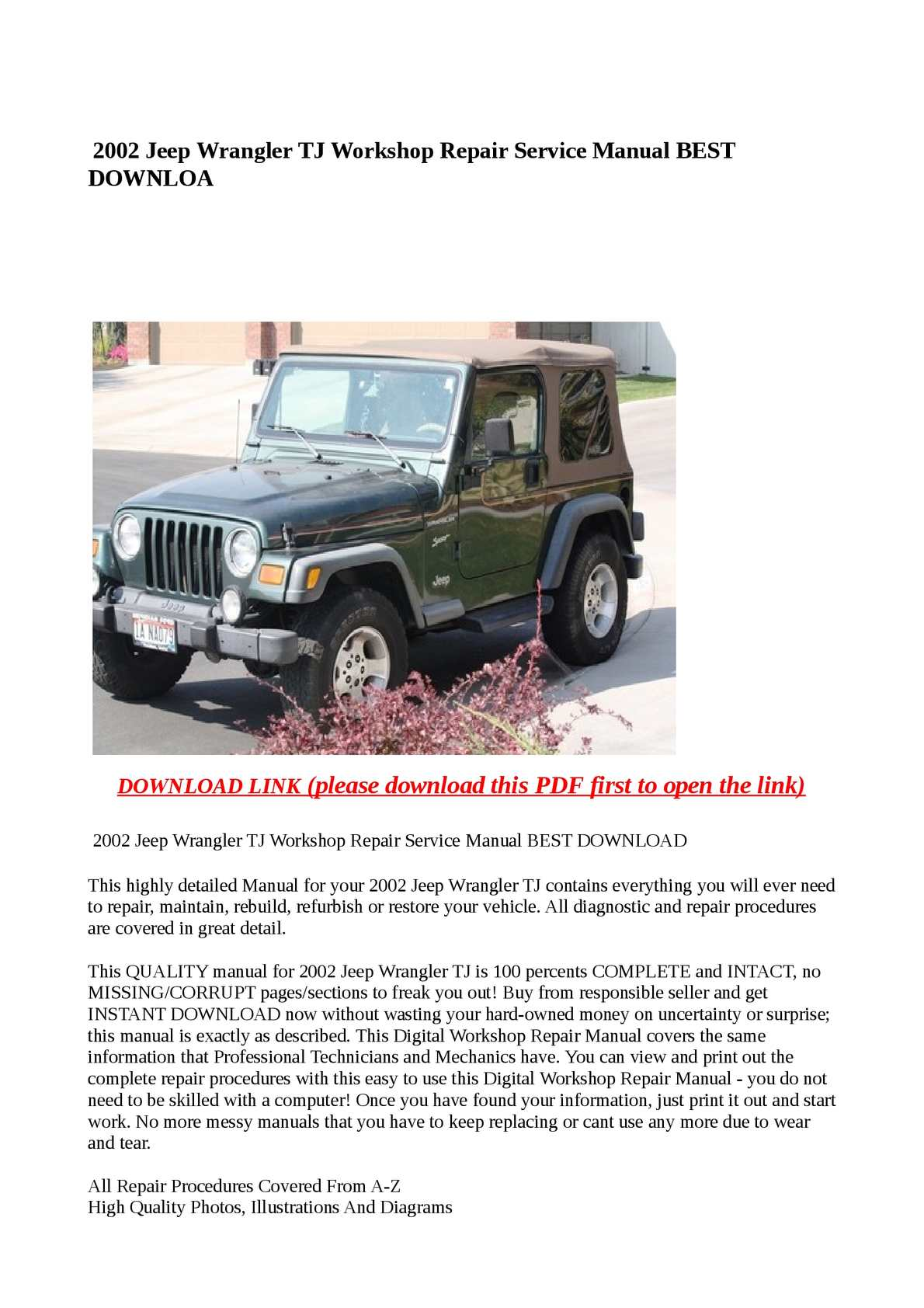calam o 2002 jeep wrangler tj workshop repair service manual best rh  calameo com Custom Jeep Wrangler TJ 1997 jeep wrangler tj factory service  manual