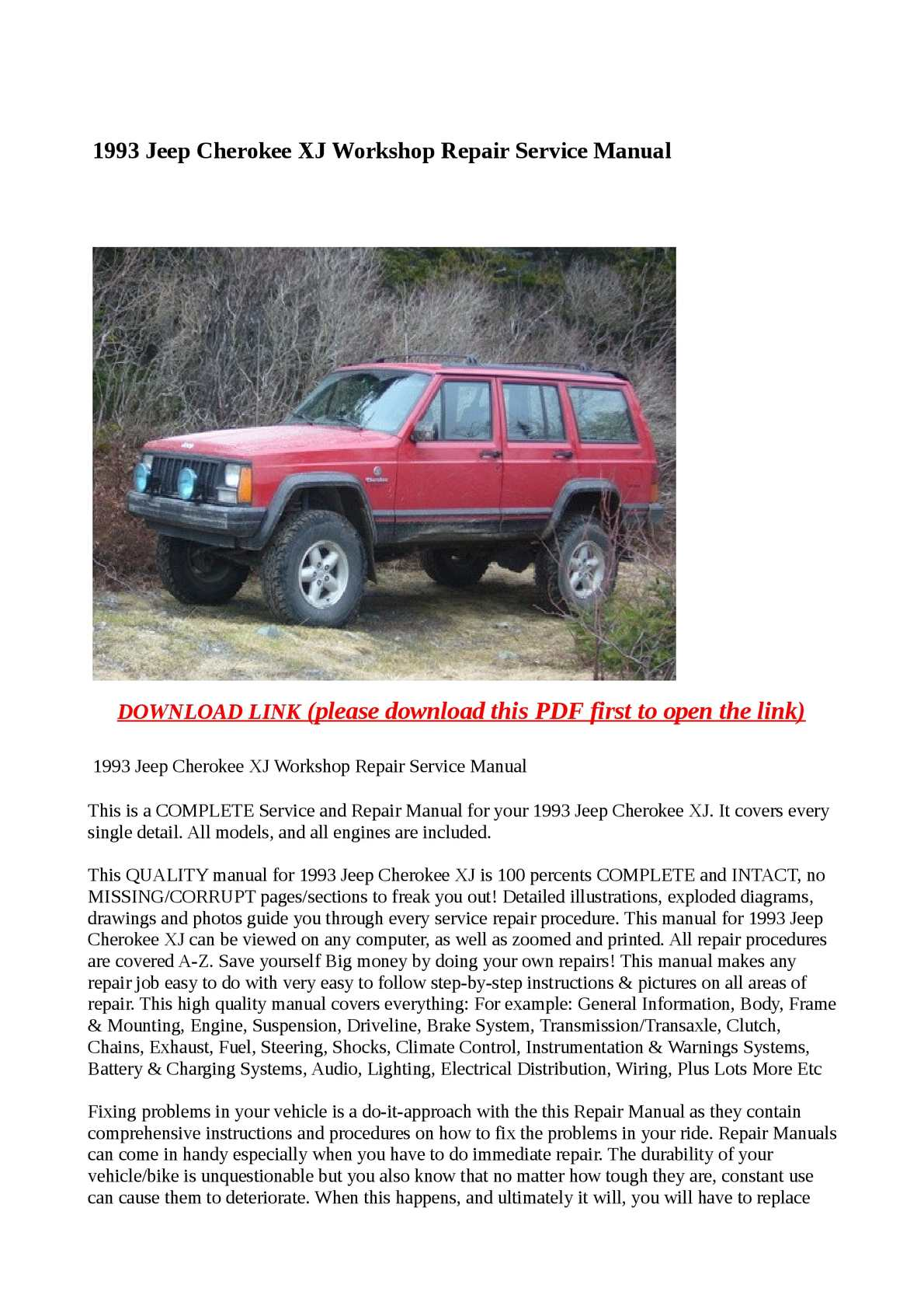 ... Array - calam o 1993 jeep cherokee xj workshop repair service manual rh  calameo ...