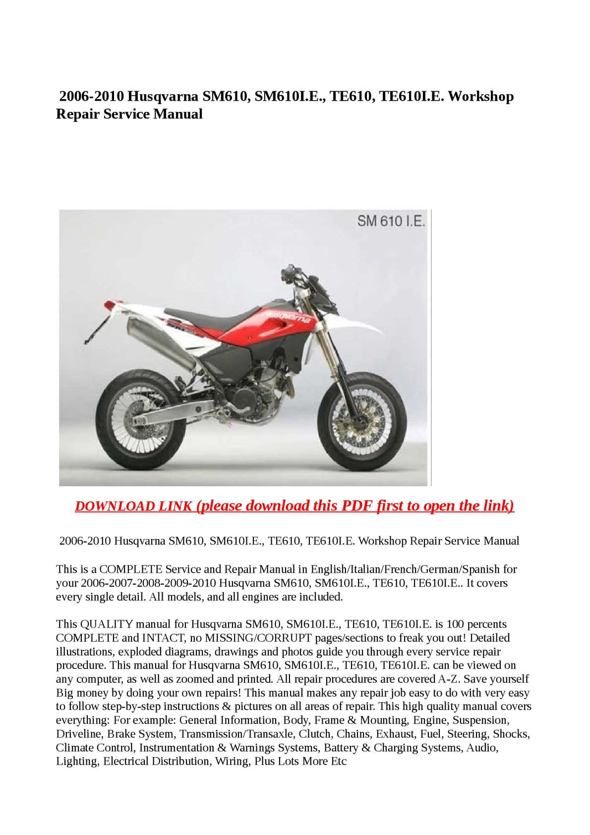 husqvarna sm610 te610ie motorcycle service repair manual 2008 english italian frech spanish german