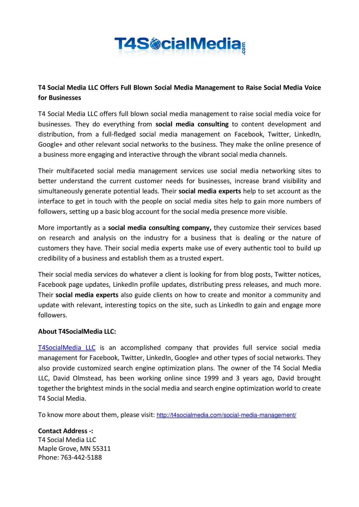 Calaméo - T4 Social Media LLC Offers Full Blown Social Media