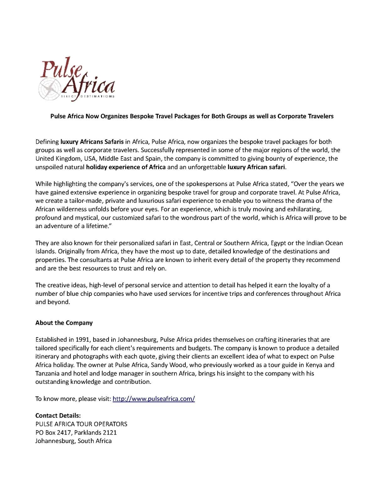 Calaméo - Pulse Africa Now Organizes Bespoke Travel Packages for