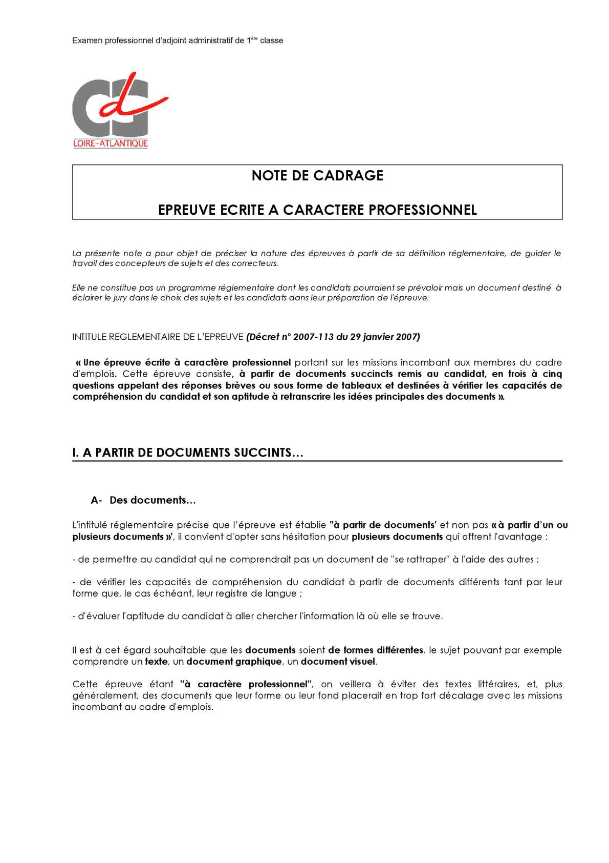 Calameo Epreuve Adjoint Administratif 1 Classe Cdg 44