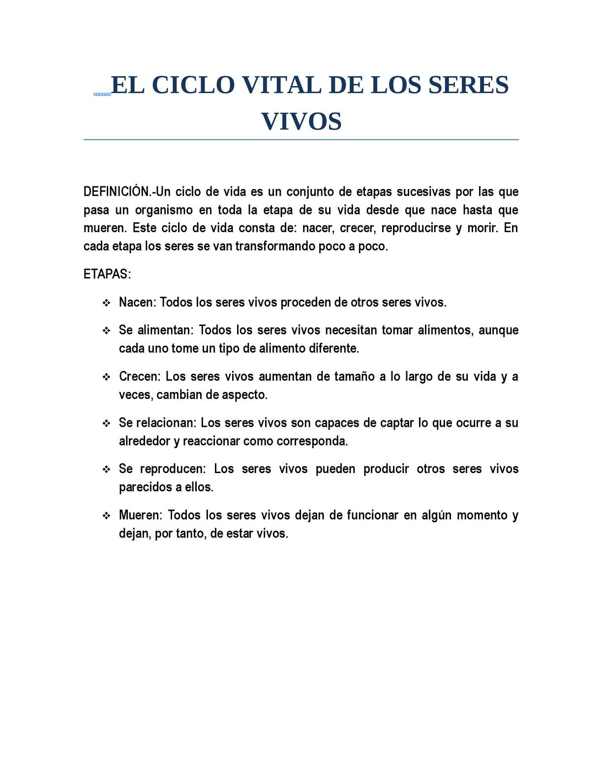 Calaméo - CICLO VITAL DE LOS SERES VIVOS