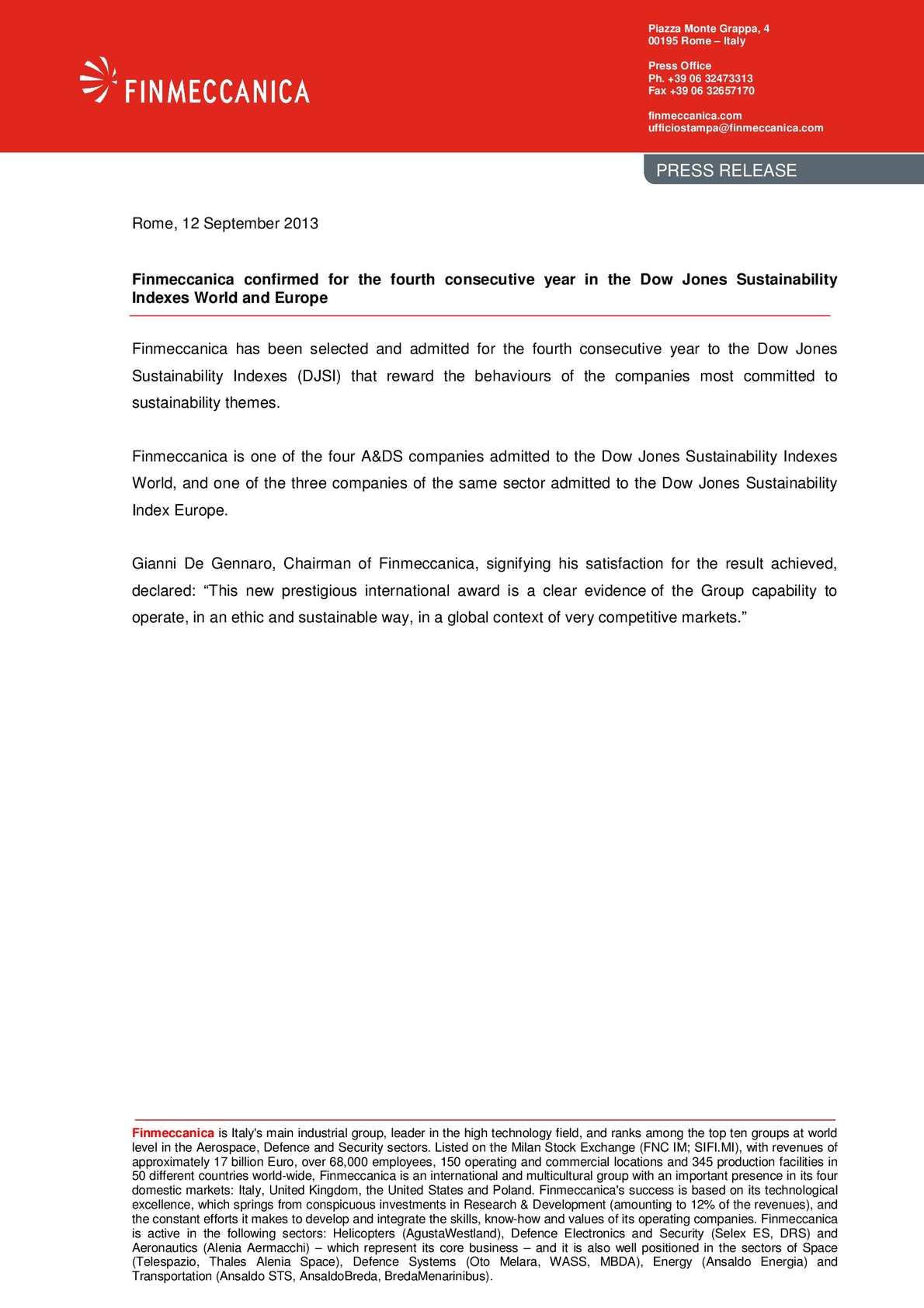 Calaméo - Finmeccanica confirmed for the fourth consecutive