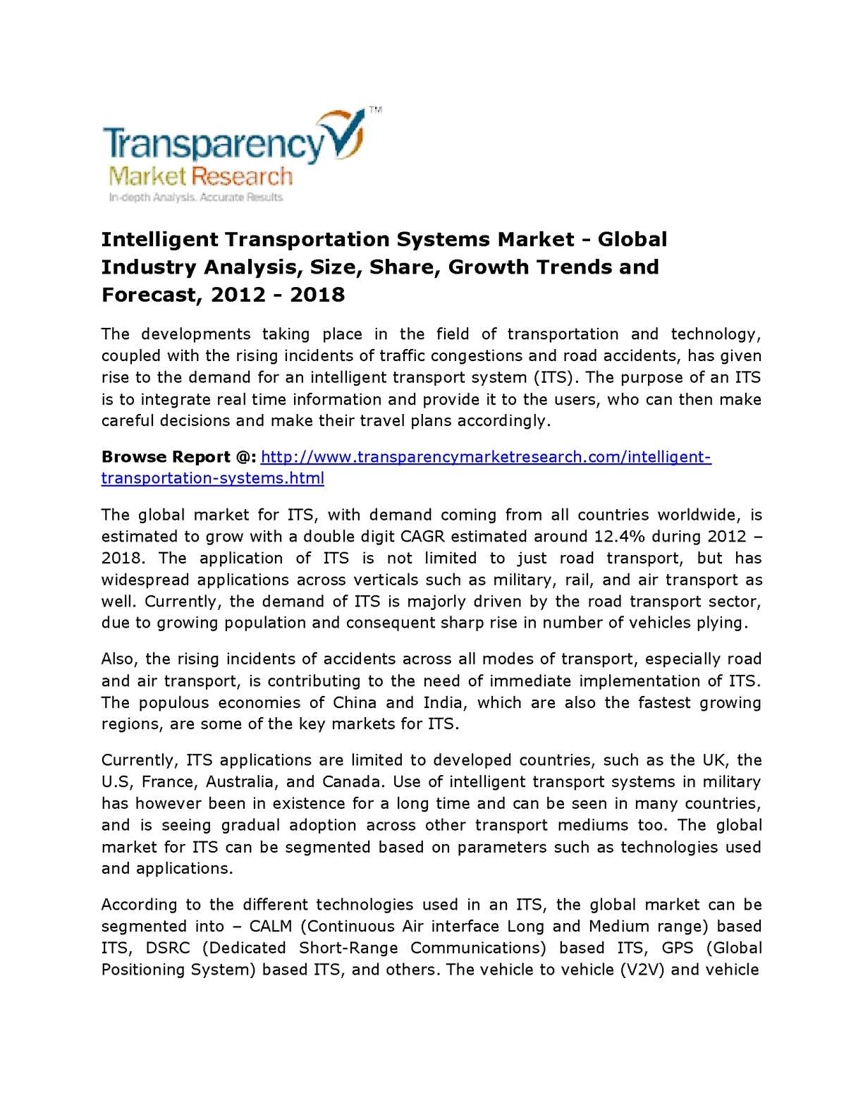 Calaméo - Intelligent Transportation Systems Market- Size