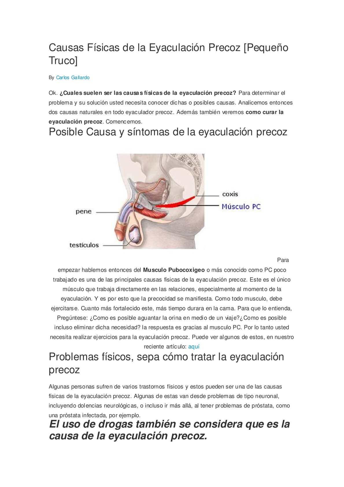 eyaculaciones precoces y próstata