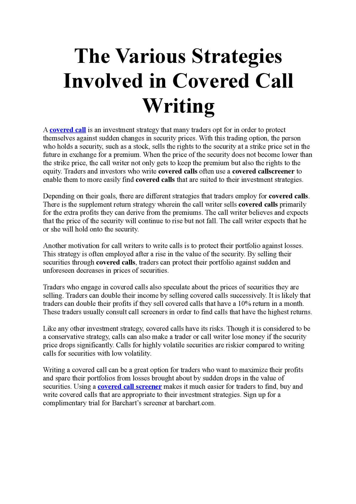 Calaméo - The Various Strategies Involved in Covered Call Writing