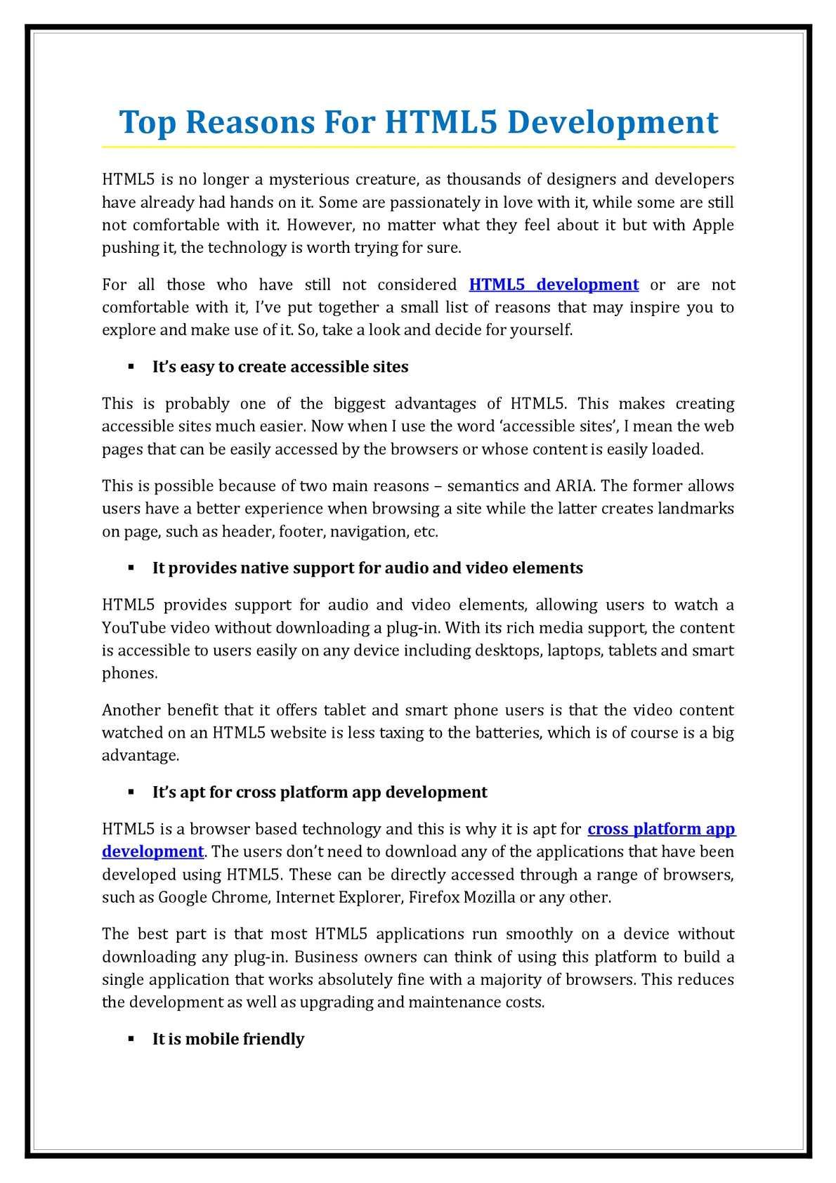Calaméo - 1Top Reasons For HTML5 Development
