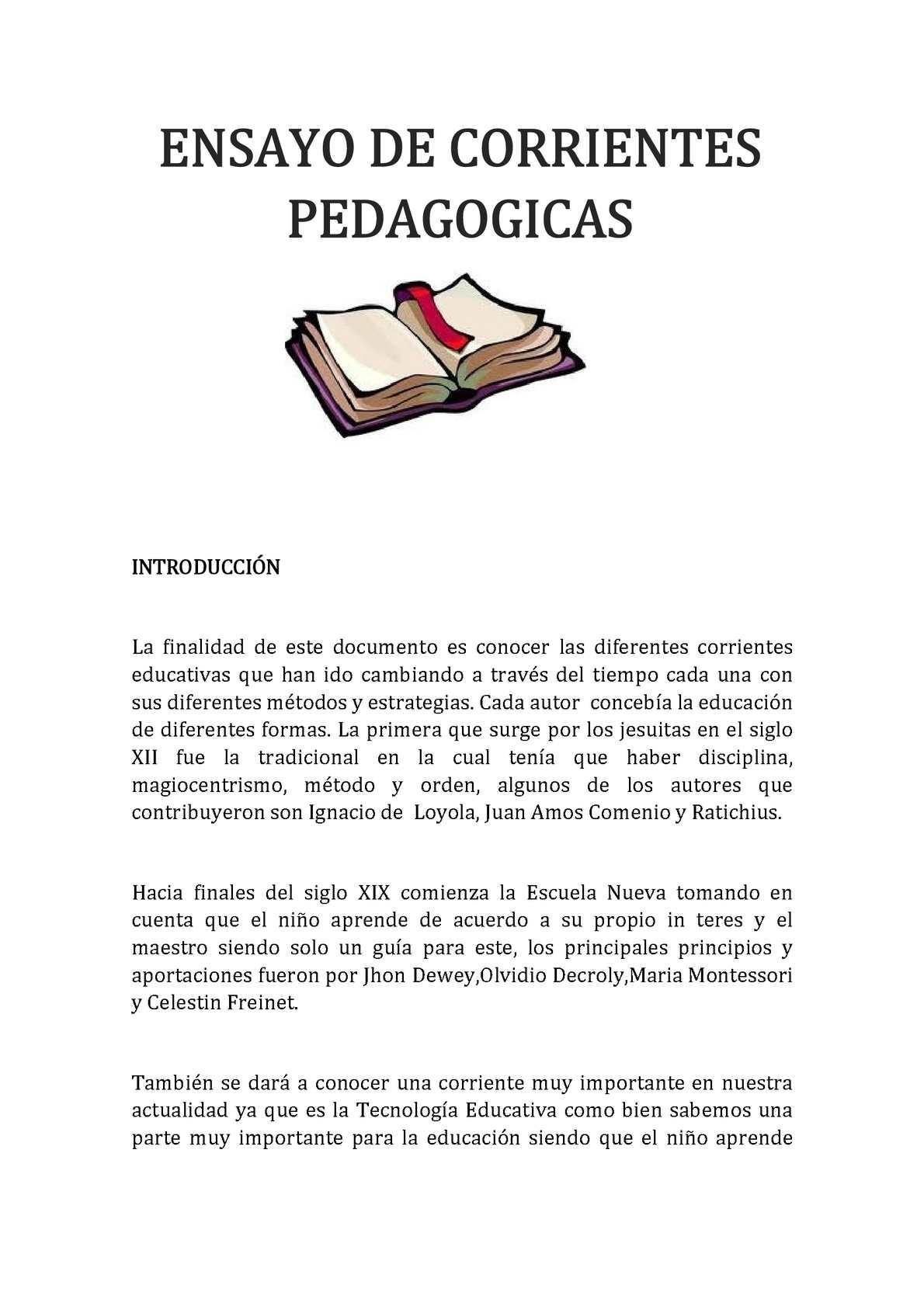 Calaméo - ENSAYO DE CORRIENTES PEDAGOGICAS Irma Valdizan