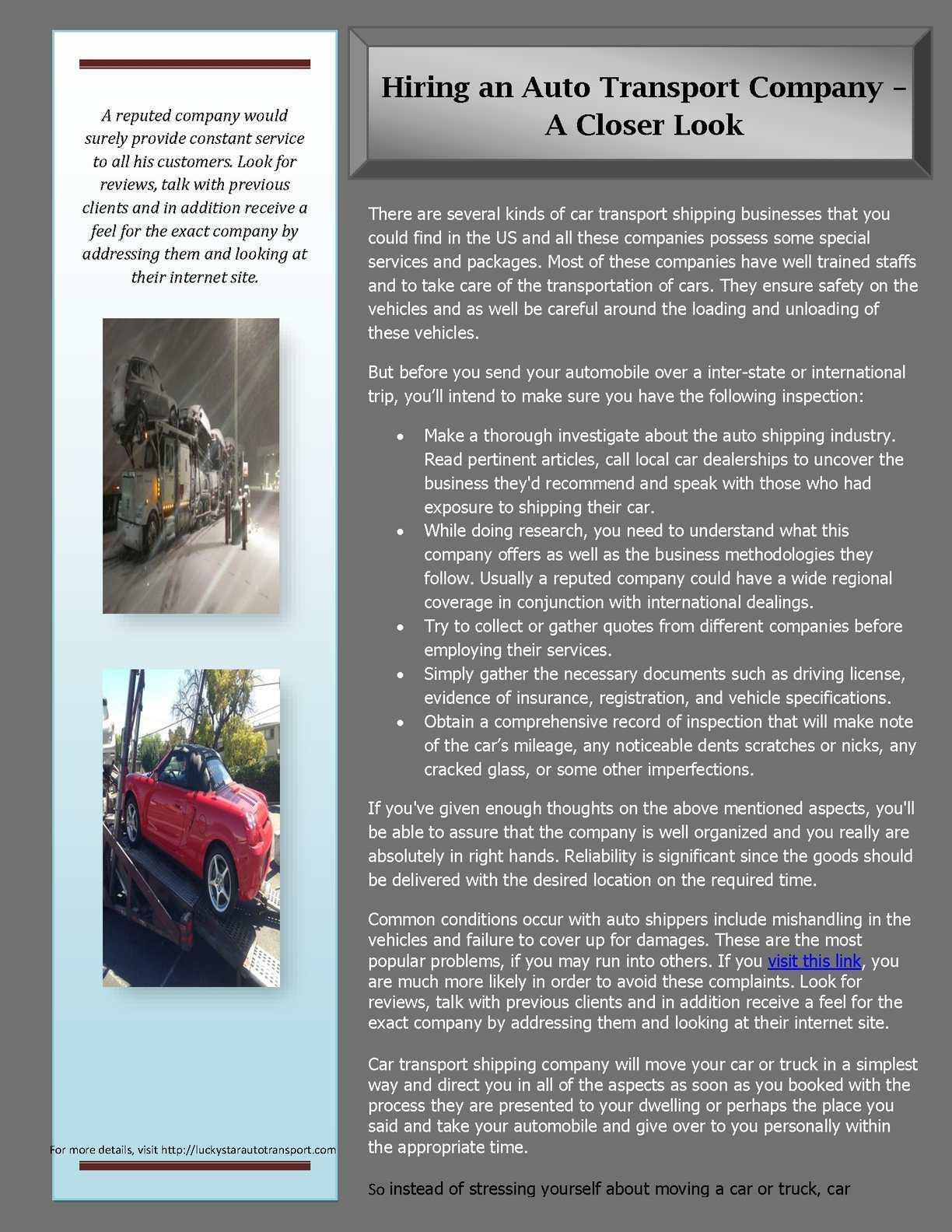 Car Transport Reviews >> Calameo Hiring An Auto Transport Company A Closer Look