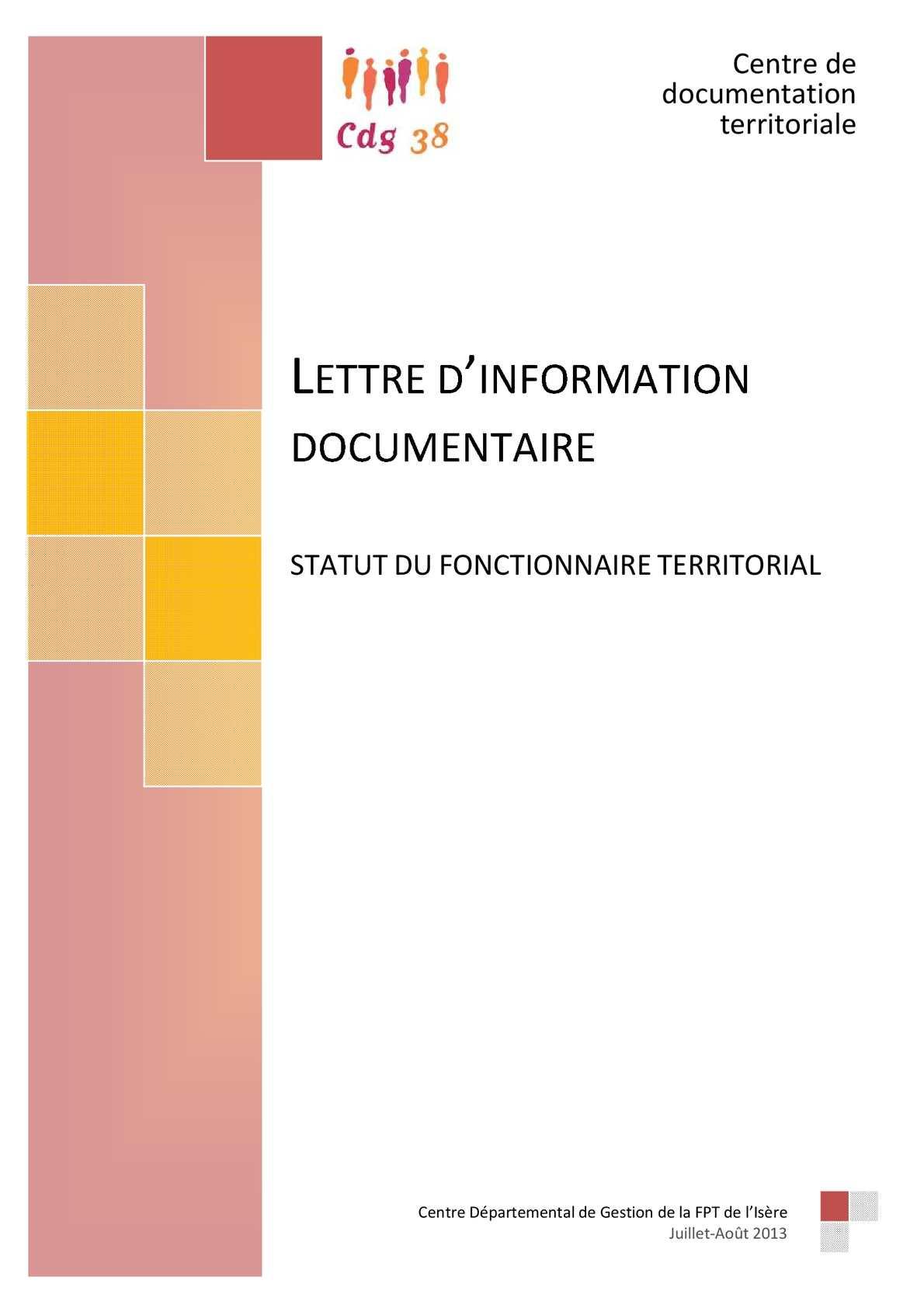 calam o lettre information documentaires statut fonctionnaire territorial. Black Bedroom Furniture Sets. Home Design Ideas