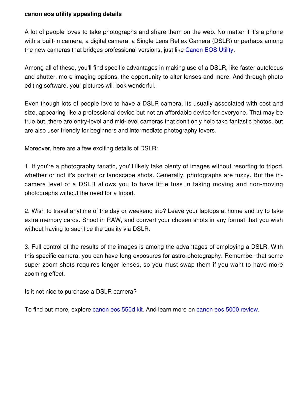 Calaméo - Canon EOS Utility: Attention-grabbing info of a DSLR