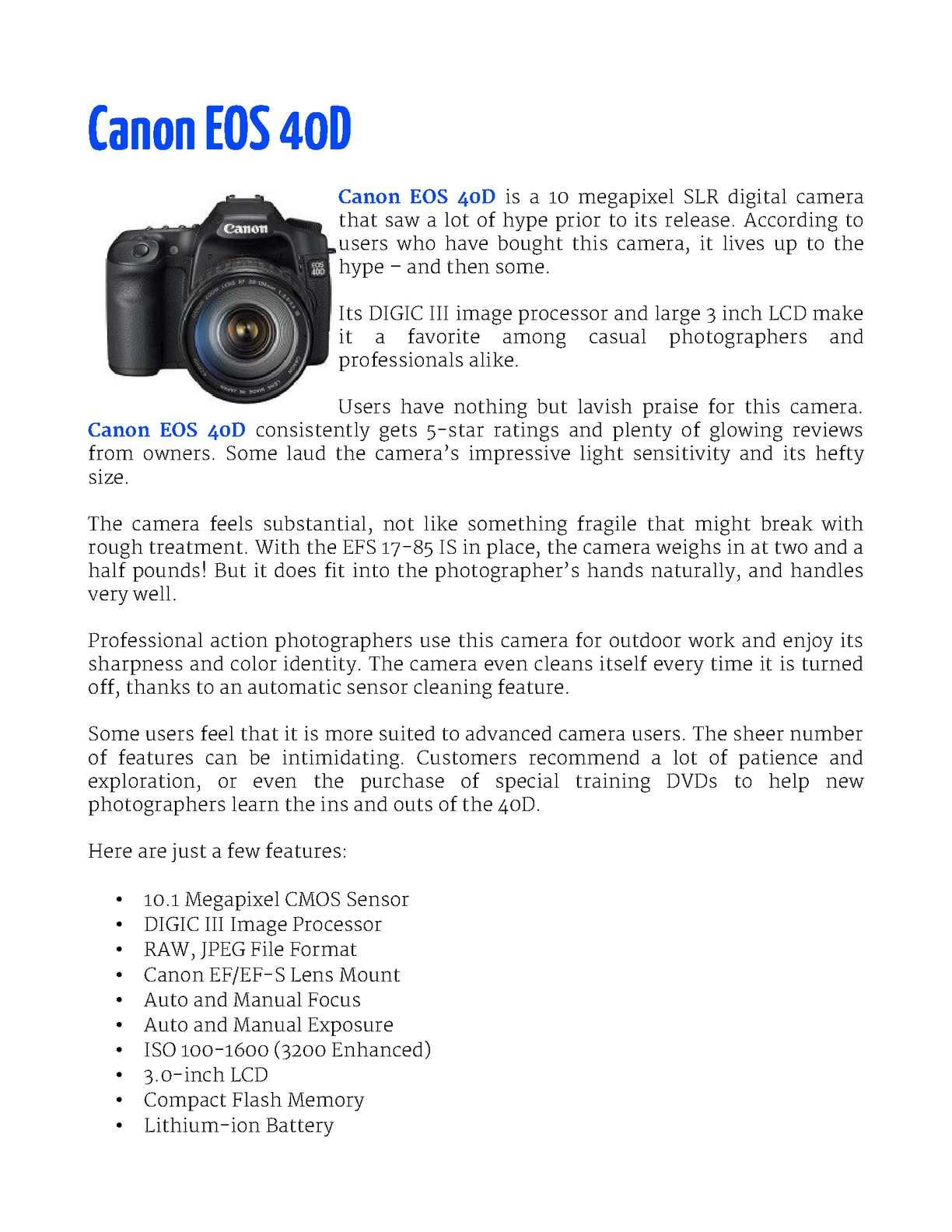 Calaméo - Canon EOS 40D