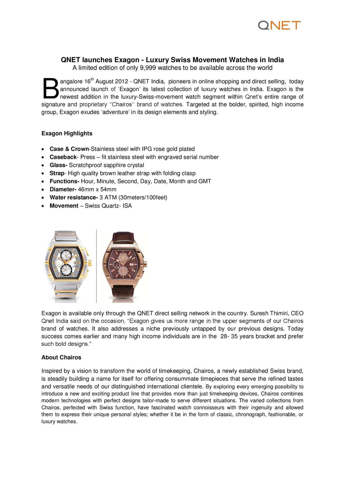 Calaméo - Exagon Launch Press Release August 2012