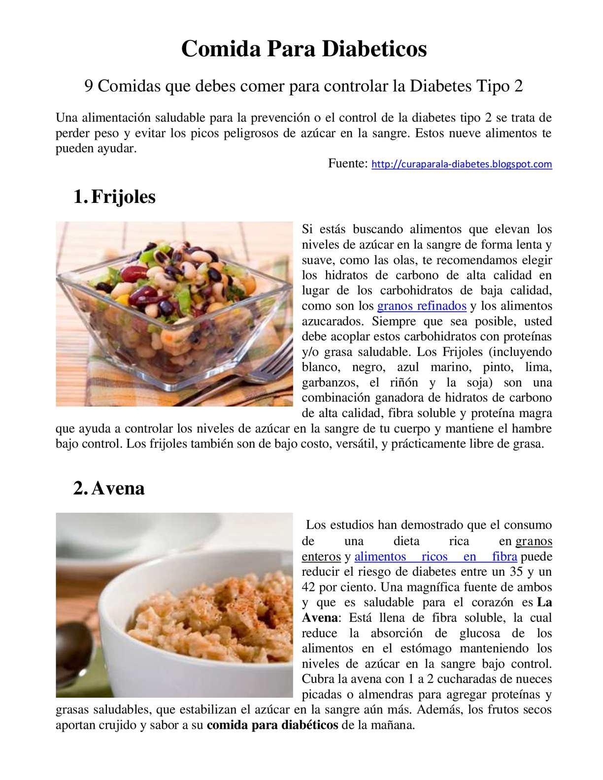 comida para comer diabetes tipo 1