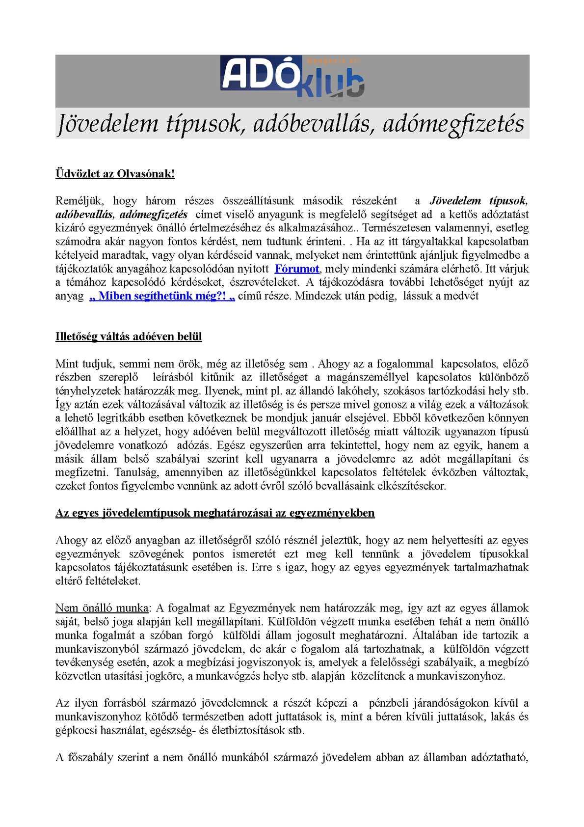 jövedelemtípusok Internet)