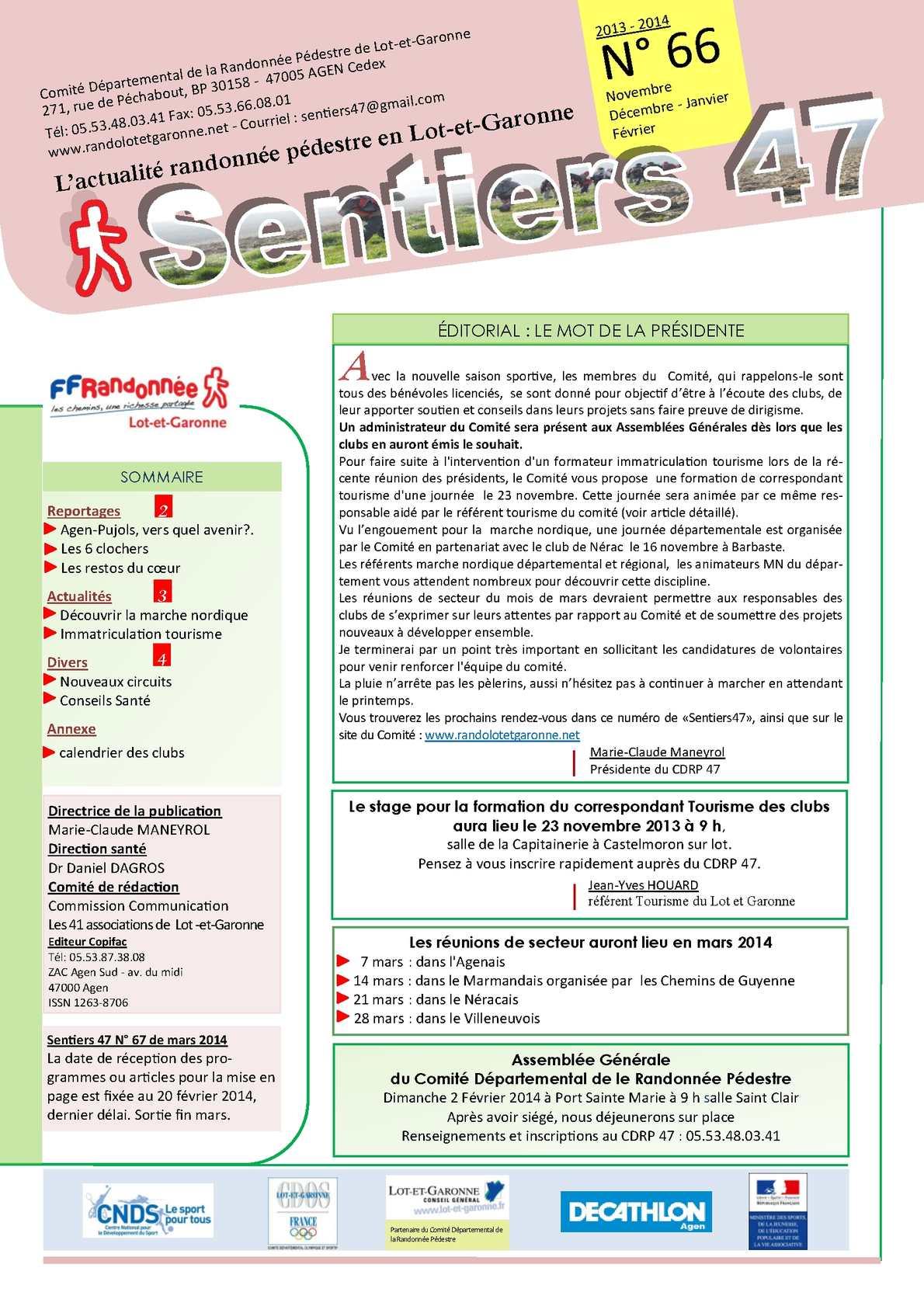 Calendrier Randonnee Pedestre Lot Et Garonne.Calameo Sentiers 47 N 66