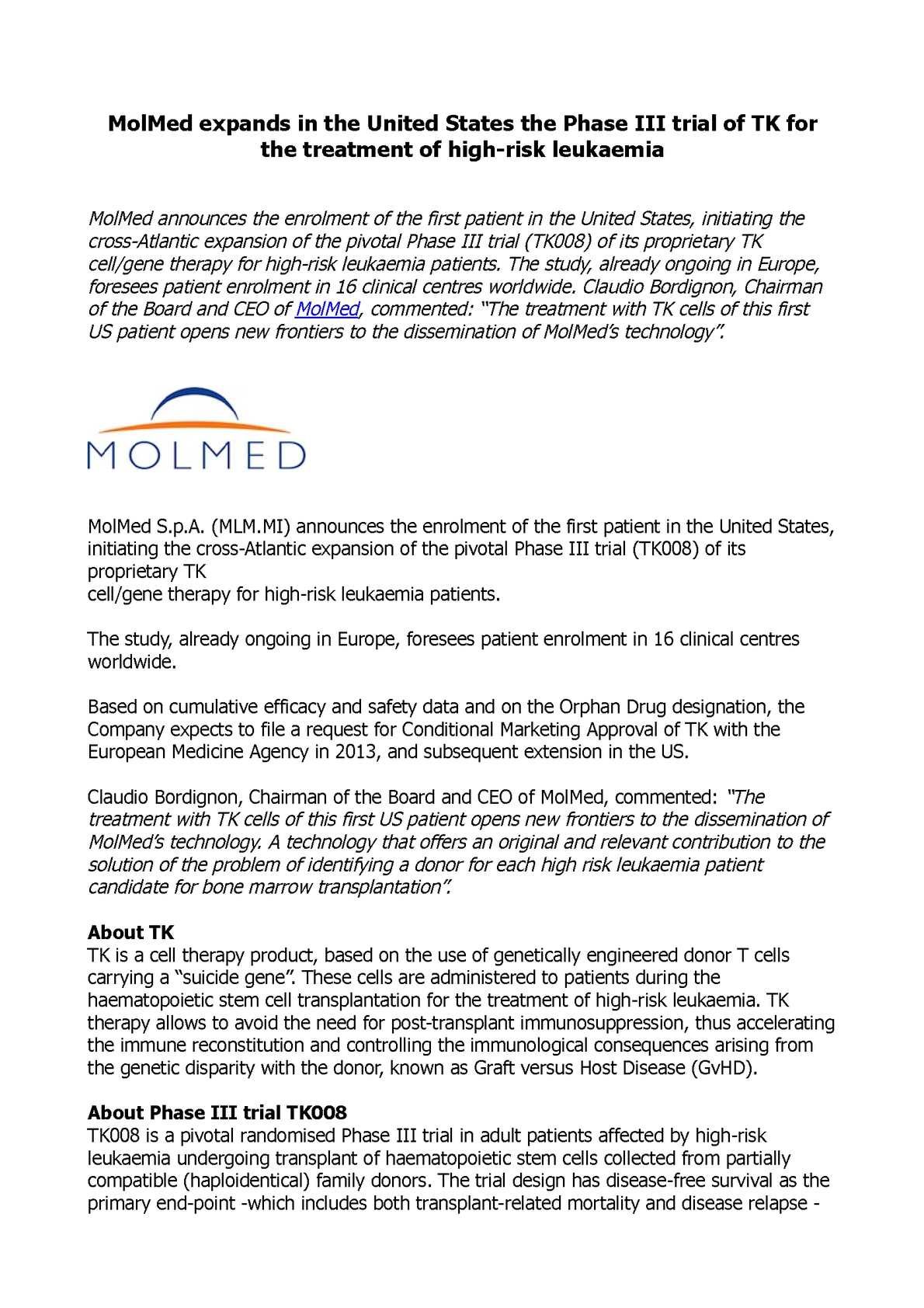 Calaméo - MolMed expands in the United States the Phase III