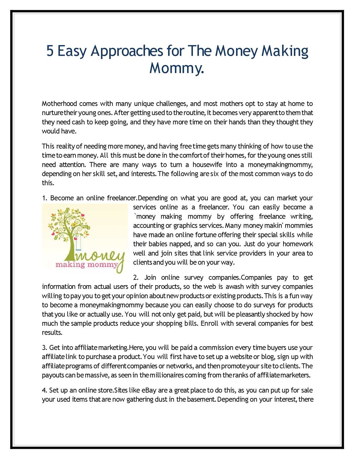 Calameo 5 Easy Approaches For The Money Making Mommy