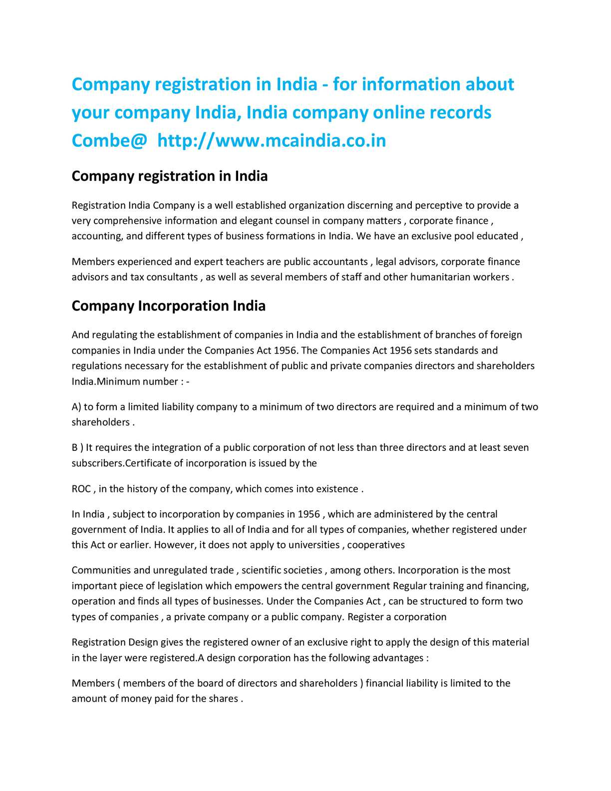 Calaméo - company registration india@http://www mcaindia co in/