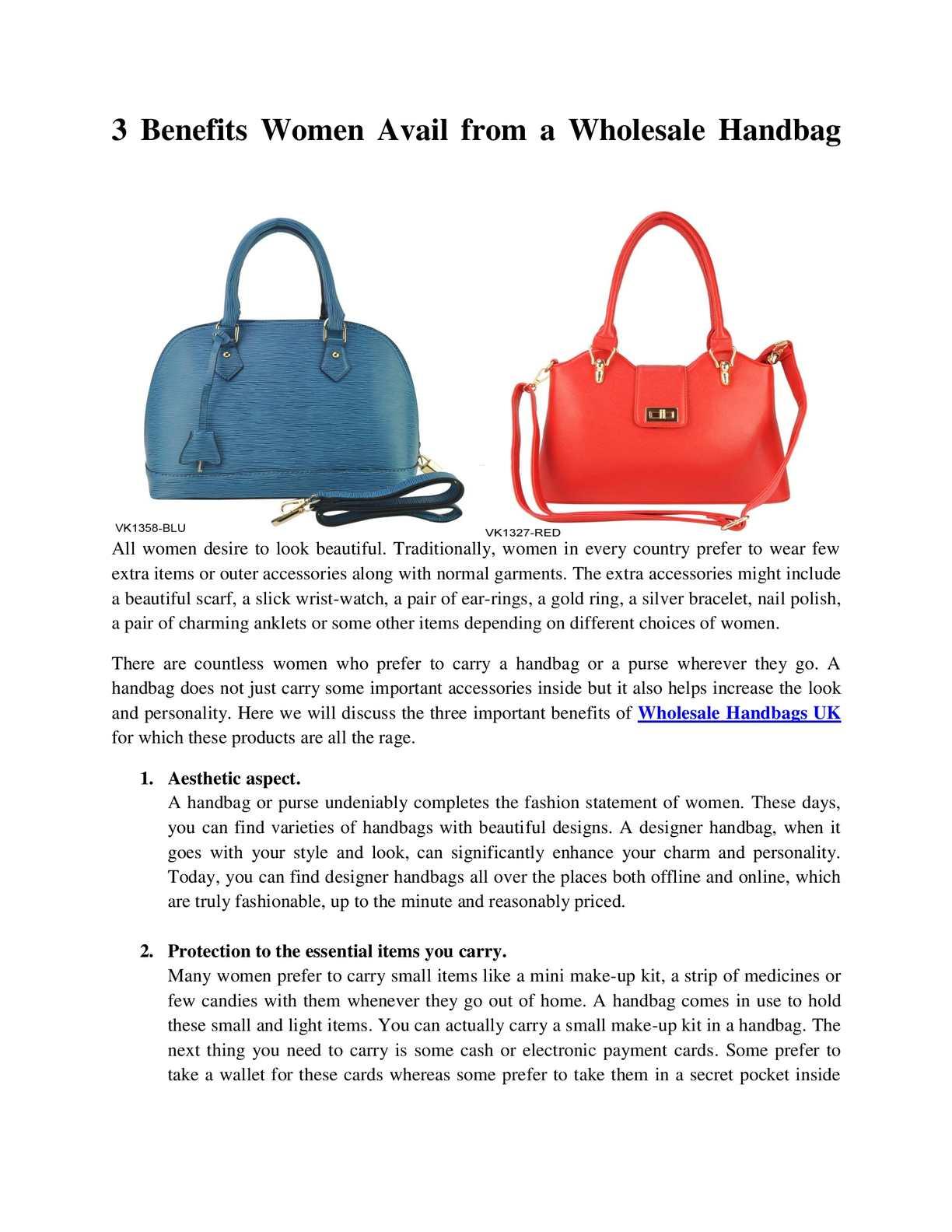 b24b76b79f4e Calaméo - 3 Benefits Women Avail from a Wholesale Handbags