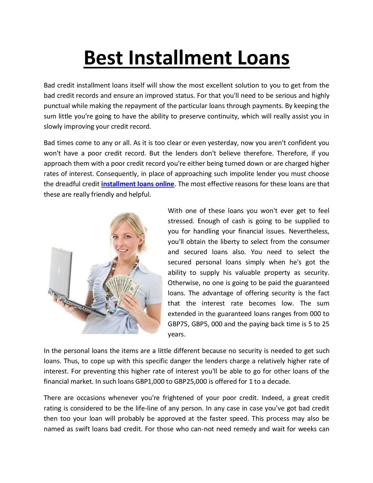 Loans For Bad Credit With Monthly Payments >> Calameo Monthly Installment Loans