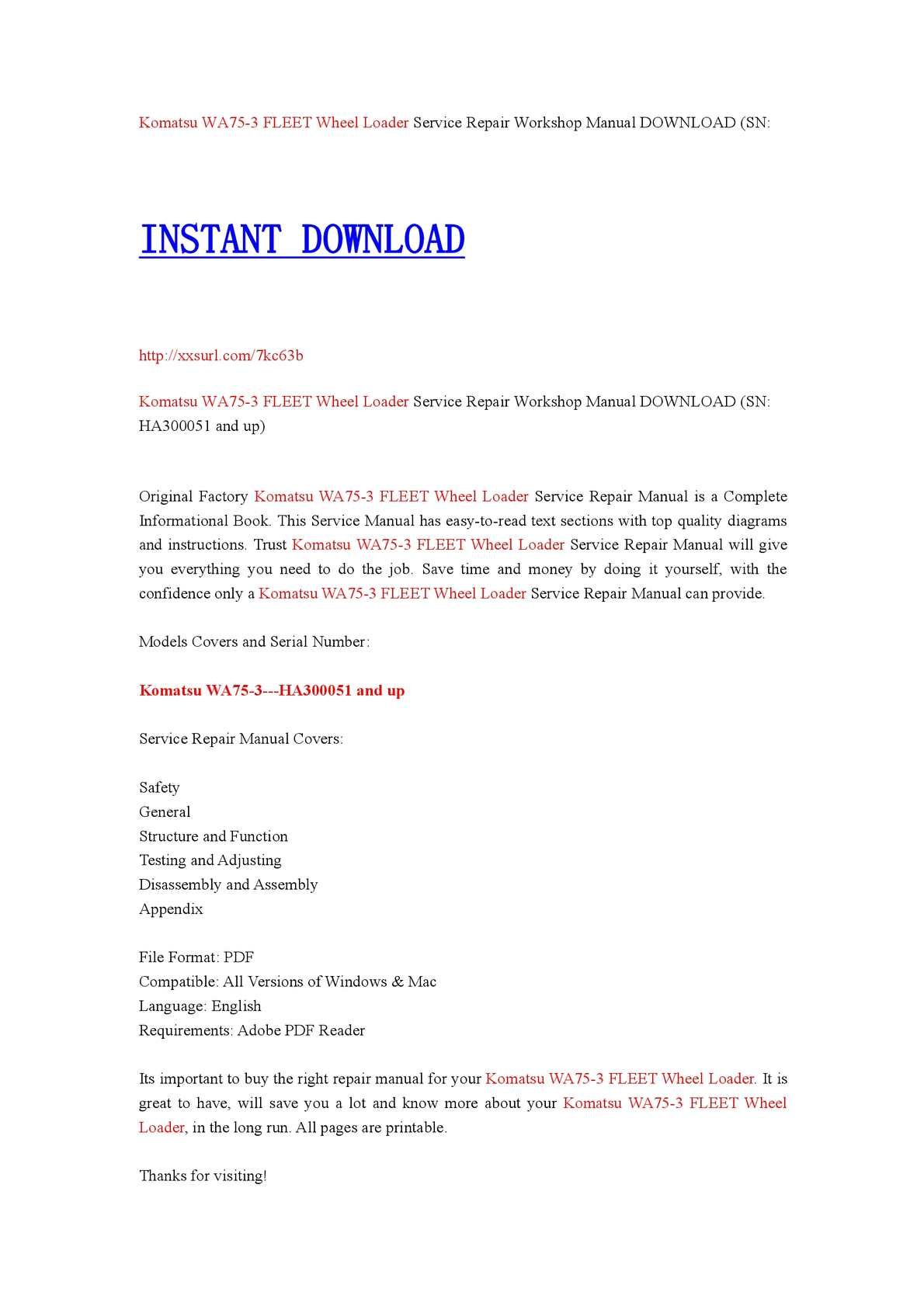 Komatsu WA75-3 Fleet Wheel Loader Shop Service Repair Manual