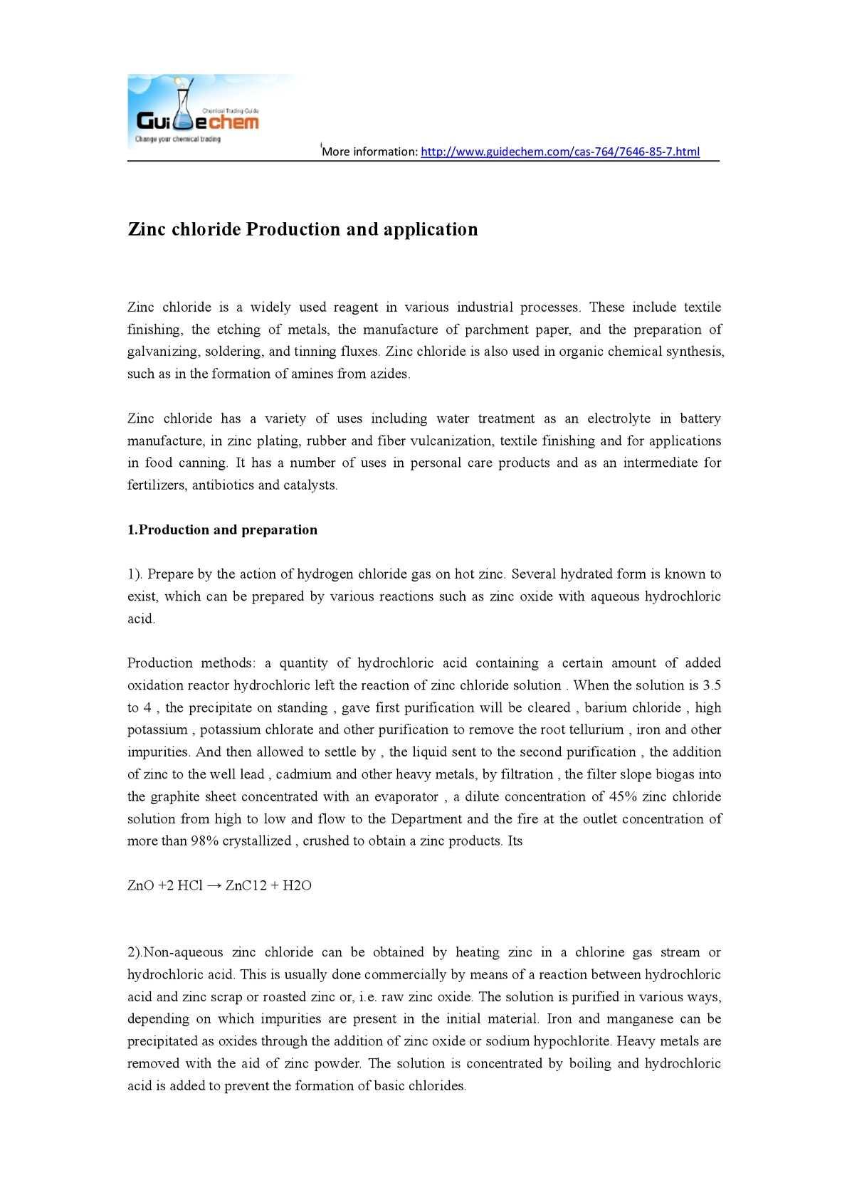 Calaméo - Zinc chloride Production and application