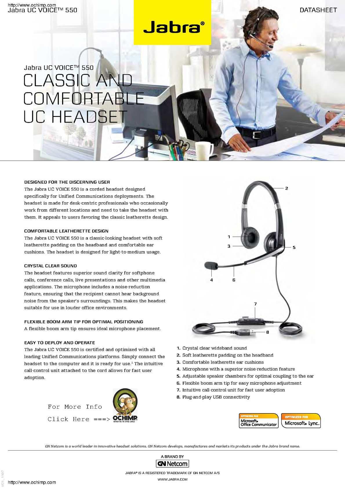 Calaméo - Jabra Uc Voice 550 Binaural Over The Head Corded Headset