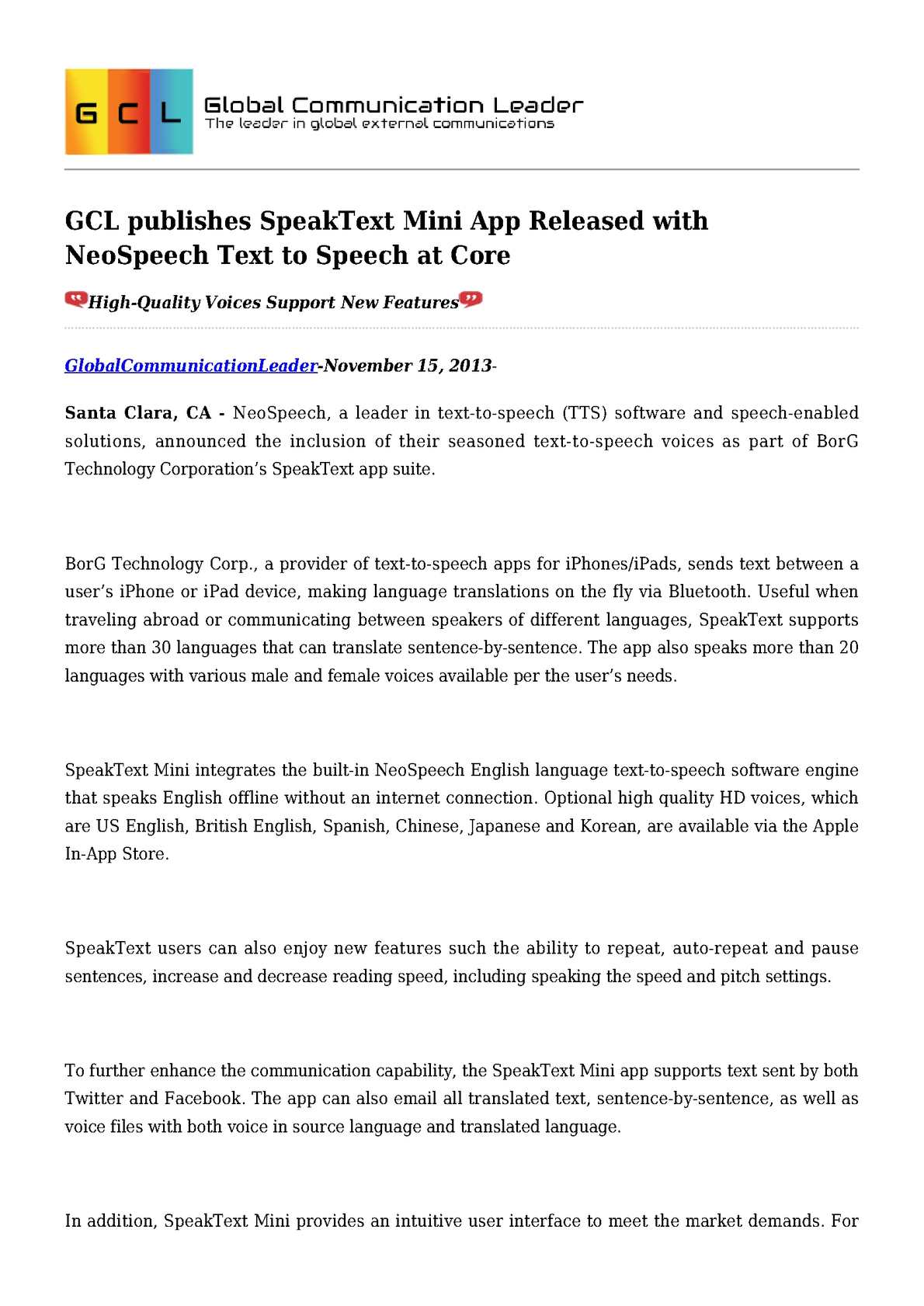 Calaméo - GCL publishes SpeakText Mini App Released with