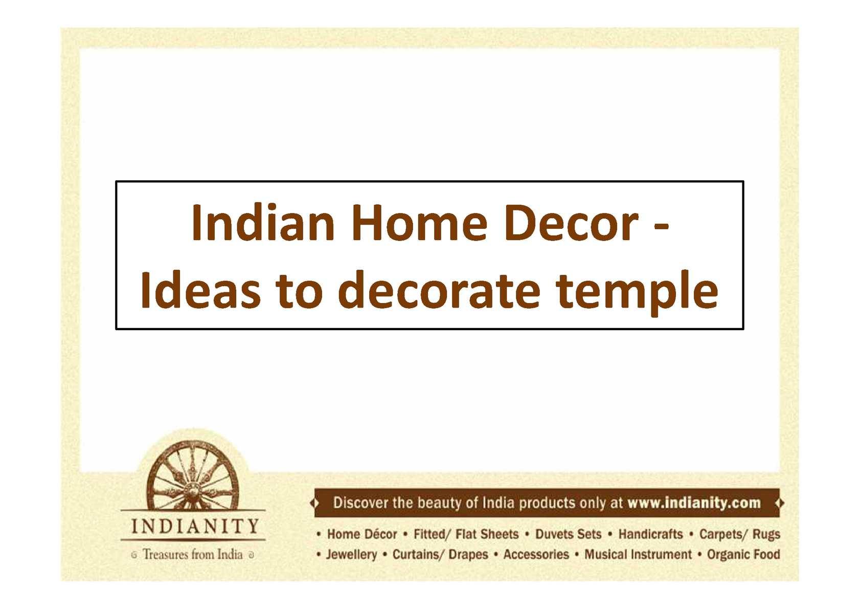 Calameo Indian Temple Decor Deities And Items