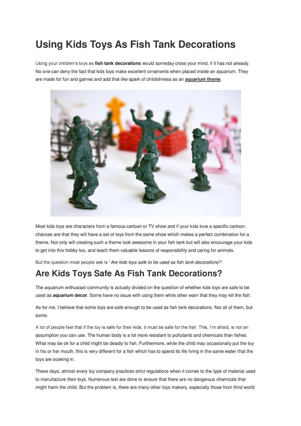 Calaméo Using Kids Toys As Fish Tank Decorations