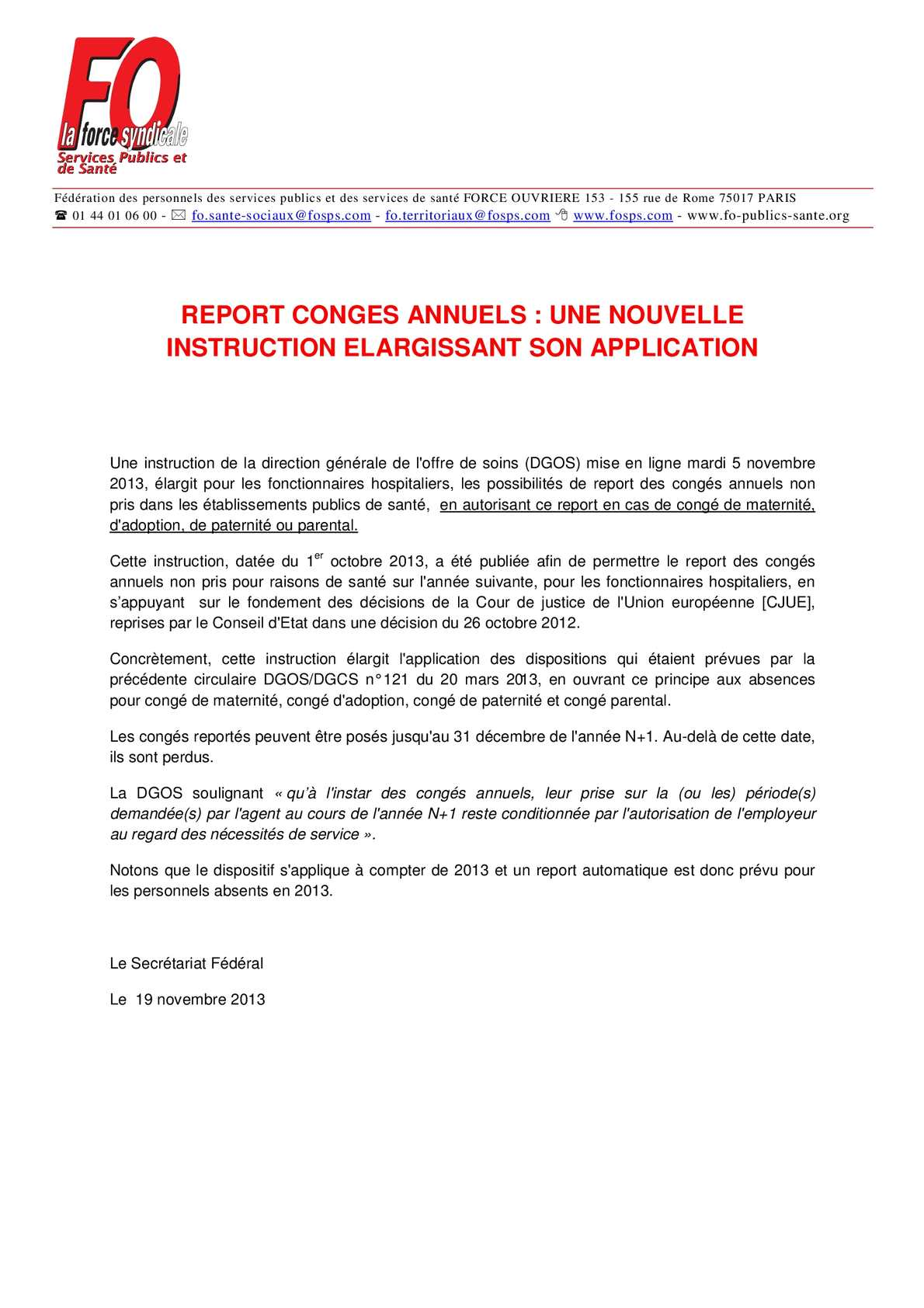 Calameo Report Des Conges Annuels Non Pris Dans Les Etablissements