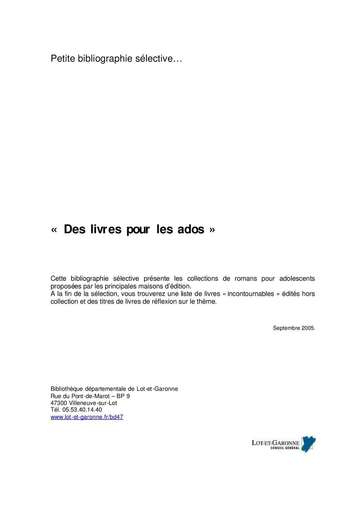 Calameo Des Livres Pour Les Ados Bibliographie