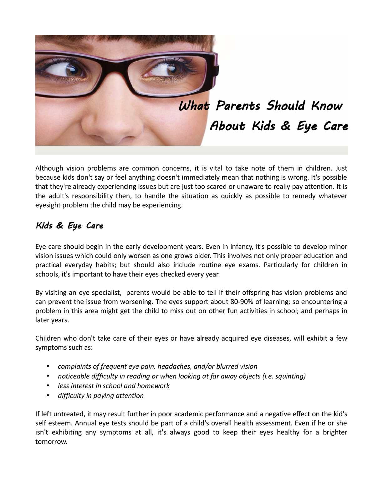 wat problem of one eye pain