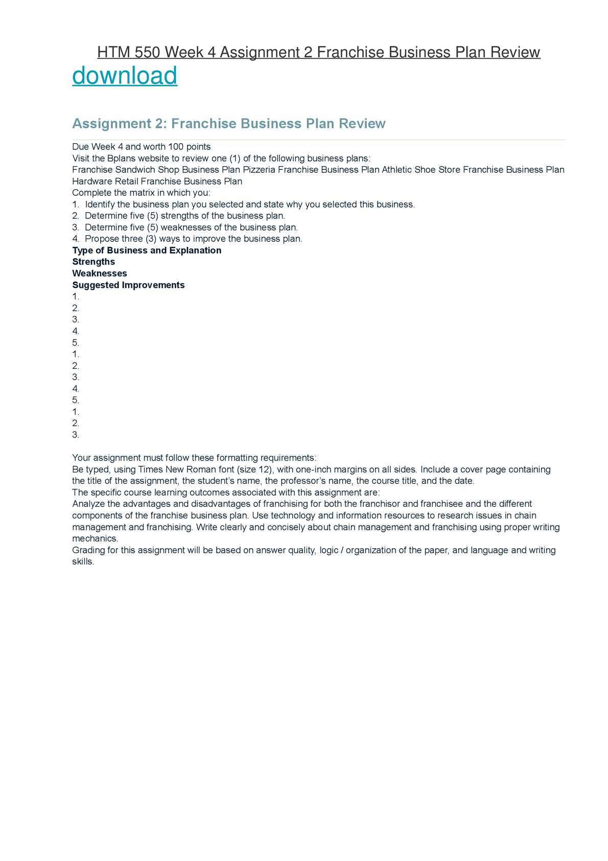 Athletic Shoe Store Sample Business Plan