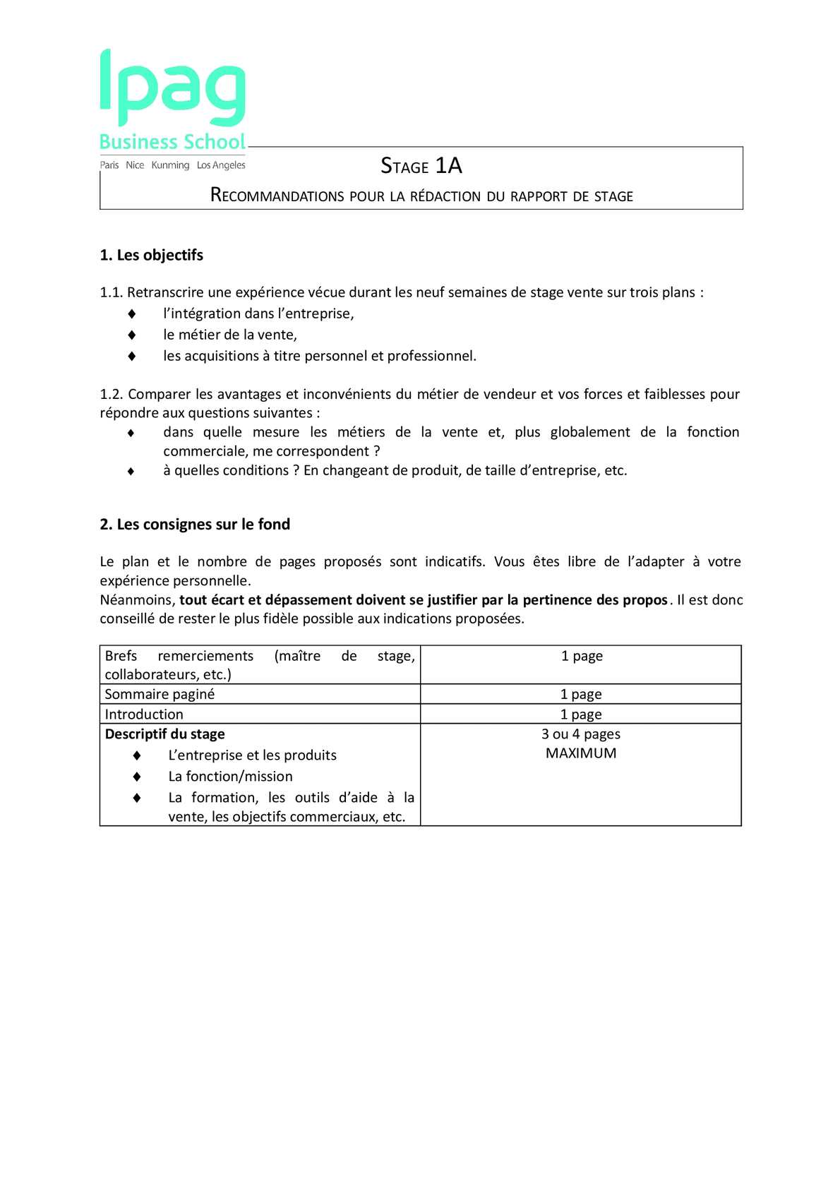 Calaméo Stage 1a Recommandations Rapport De Stage