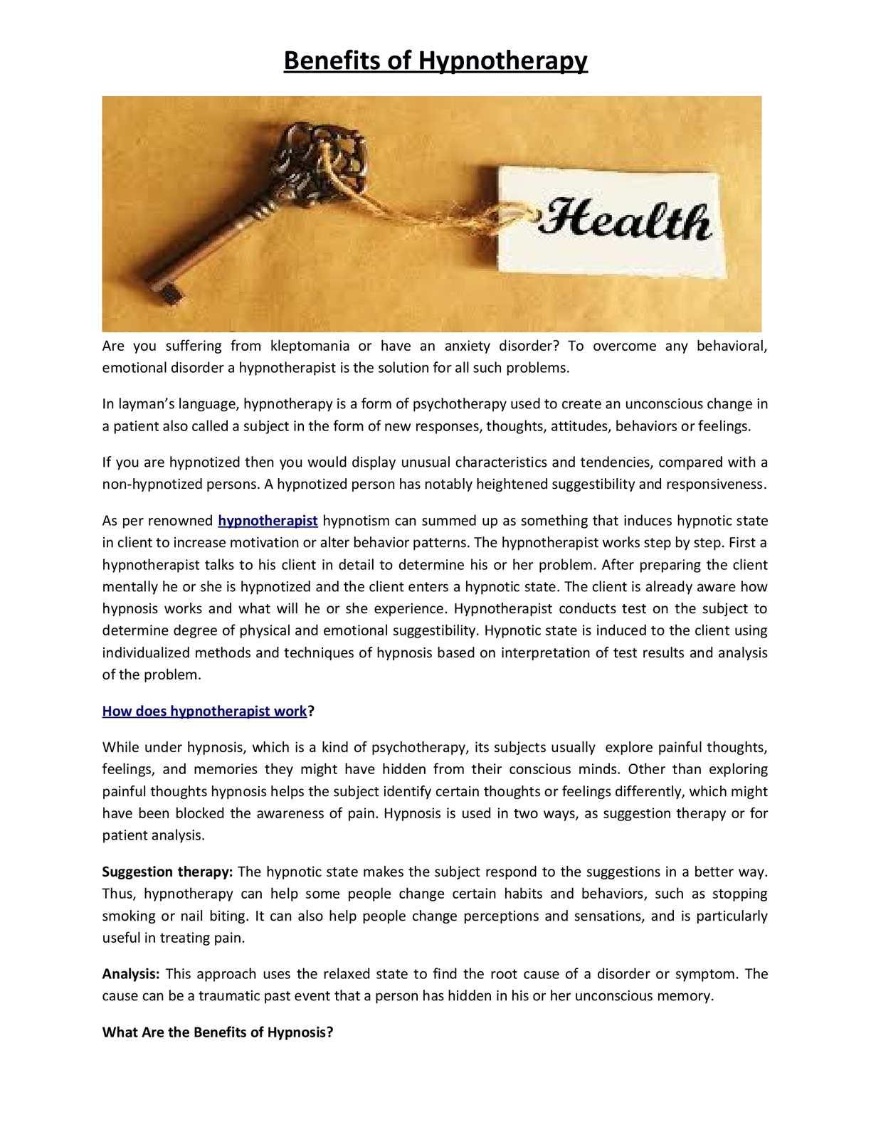 Calaméo - Benefits of Hypnotherapy