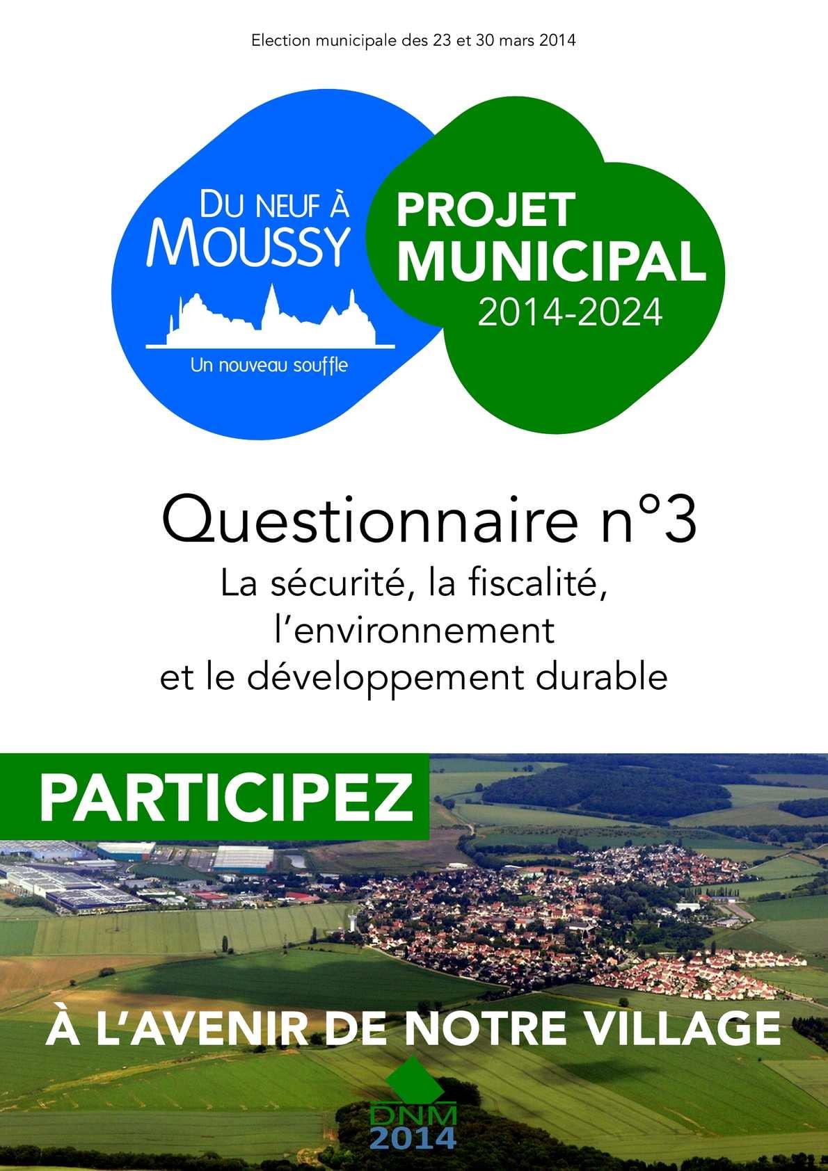 Questionnaire du projet municipal n°3